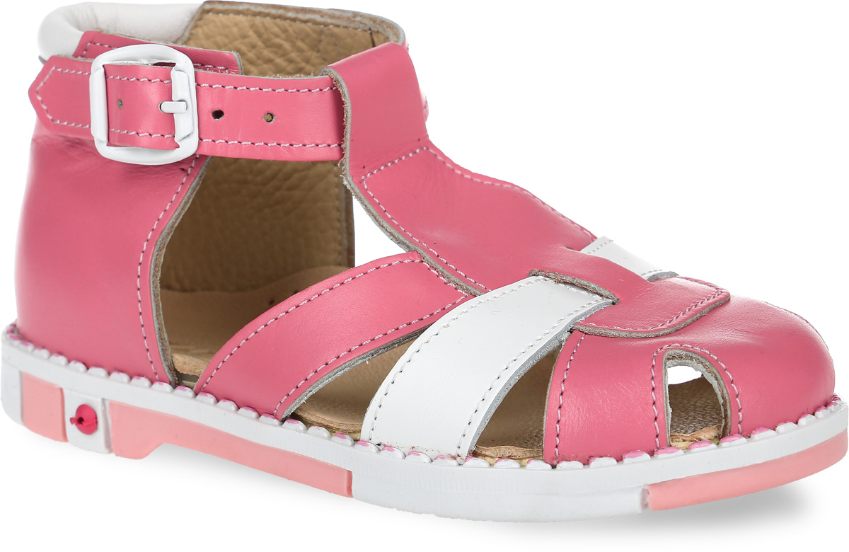 Сандалии для девочки Таши Орто, цвет: розовый, белый. 340-28. Размер 26Tas340-28Модные сандалии Таши Орто заинтересуют вашу девочку с первого взгляда. Модель выполнена из натуральной кожи. Застежка-пряжка надежно фиксирует голеностоп и одновременно регулирует полноту, не ослабевает в процессе ежедневной носки, важный элемент ортопедической обуви. Анатомическая стелька из натуральной кожи с супинатором, не продавливающимся во время носки, обеспечивает правильное формирование стопы. Благодаря использованию современных внутренних материалов оптимально распределяется нагрузка по всей площади стопы, что дает ножке ощущение мягкости и комфорта. Полужесткий задник фиксирует ножку ребенка. Мягкая верхняя часть, которая плотно прилегает к ноге, и подкладка, изготовленная из натуральной кожи, позволяют избежать натирания. У изделия ортопедический каблук, продленный с внутренней стороны подошвы, его внутренняя часть длиннее наружной, укрепляет подошву под средней частью стопы и препятствует заваливанию стопы внутрь (что обычно наблюдается при вальгусной постановке). Эластичная подошва с рельефным протектором предназначена для правильного распределения нагрузки на опорно-двигательный аппарат ребенка, позволяет сгибаться стопе при ходьбе или беге анатомически правильно, в 1/3 стопы, а не посередине, позволяет сформировать правильную походку ребенка.