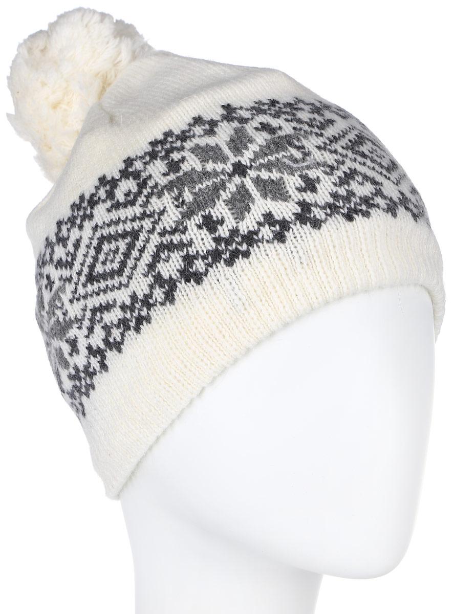 Шапка женская Sela, цвет: белый, серый. HAk-141/014M-6404. Размер 56/58HAk-141/014M-6404Стильная вязаная женская шапка Sela идеально подойдет для прогулок в прохладное время года. Изготовленная из нейлона с добавлением шерсти и ангоры, она обладает хорошими дышащими свойствами и хорошо удерживает тепло.Шапка декорирована интересным принтом. Понизу проходит широкая вязаная резинка. На макушке модель украшена небольшим помпоном Такая шапка станет модным и стильным предметом вашего гардероба. Она улучшит настроение даже в хмурые прохладные дни! Уважаемые клиенты!Размер, доступный для заказа, является обхватом головы.