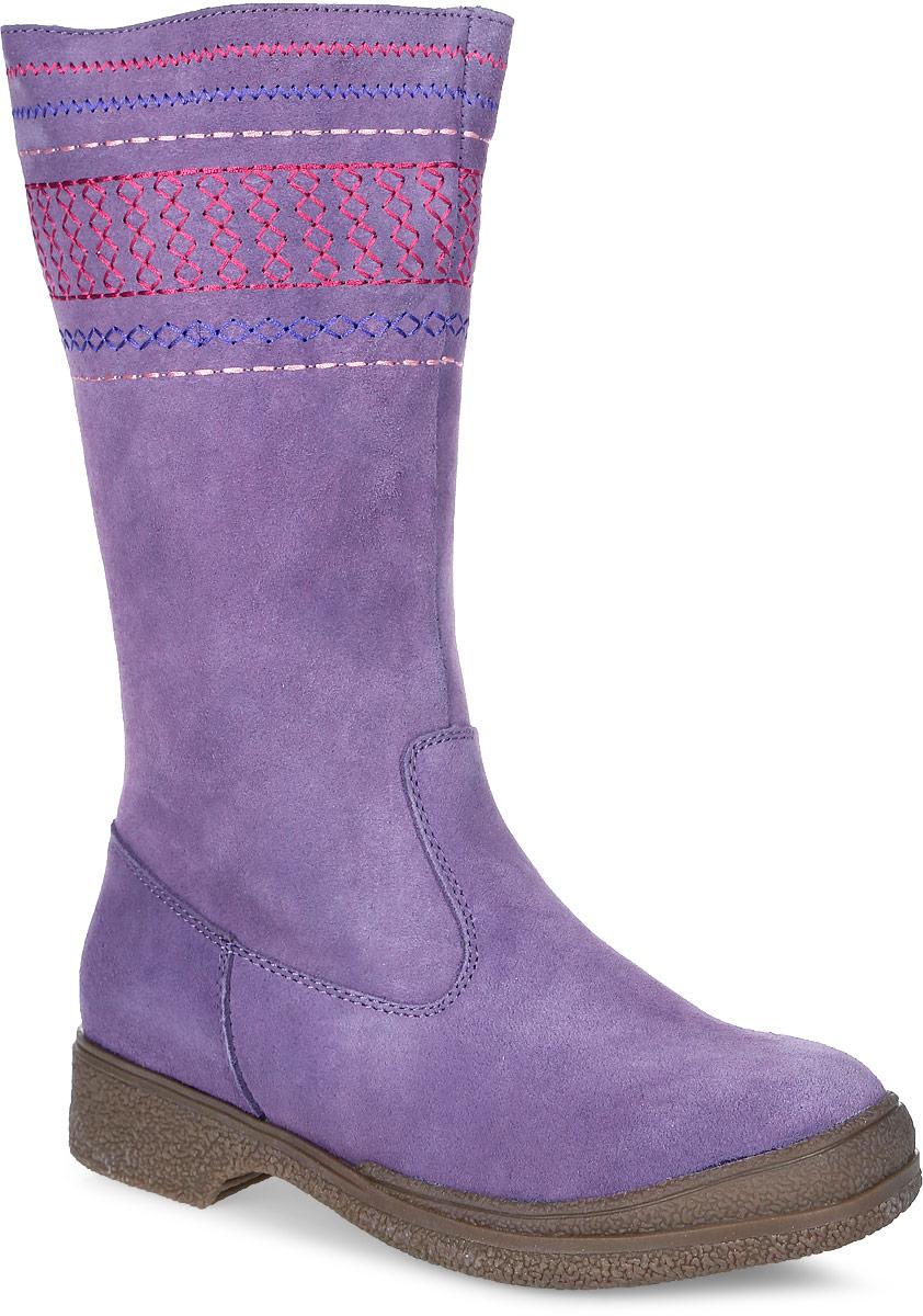 Сапоги для девочки Аллигаша, цвет: фиолетовый. 11-145. Размер 3211-145Стильные зимние сапоги для юных модниц выполнены из натуральной замши самого высокого качества. Голенище декорировано узорчатой вышивкой. Стелька и подкладка из натурального меха отлично сохраняют тепло и обеспечат комфорт ножкам. Прочная подошва с рифлением гарантирует сцепление с любой поверхностью. Сапоги от торговой марки Аллигаша незаменимы в суровые Российские зимы, рекомендуемый температурный режим от - 2 до - 35 С. Идеальное сочетание цены и качества.