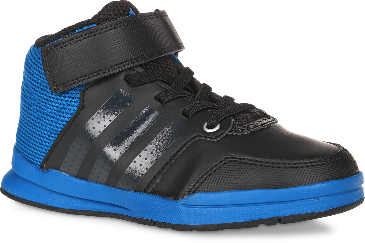 Кроссовки детские adidas Jan Bs 2 Mid C, цвет: черный, темно-голубой. AQ3674. Размер 22AQ3674Кроссовки для любых видов спорта Jan Bs 2 Mid C от adidas приведут в восторг вашего ребенка. Эта модель выполнена искусственной кожи совставками из дышащего сетчатого текстиля. Язычок и задник оформлены символикой бренда, боковые стороны - перфорацией. Классическаяшнуровка дополнена застежкой-липучкой, что обеспечивают надежную фиксацию на ноге. У изделия текстильная подкладка и стелька,выполненная по технологии Ortholite. Подошва с рифлением из прочных материалов гарантирует сцепление с любой поверхностью. Ультрамодныекроссовки займут достойное место в коллекции вашего ребенка!