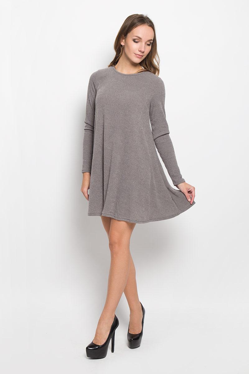 Платье Glamorous, цвет: серый. TT0667A. Размер S (44)TT0667A_GREY MARL RIBСтильное платье Glamorous идеально подойдет для вас и подчеркнет вашу индивидуальность. Выполненное из вискозы с добавлением эластана, оно мягкое и приятное на ощупь, не сковывает движений, обеспечивая комфорт. Модель длины мини с круглой горловиной и длинными рукавами имеет свободный покрой. Такое платье непременно украсит ваш гардероб и добавит образу женственности.
