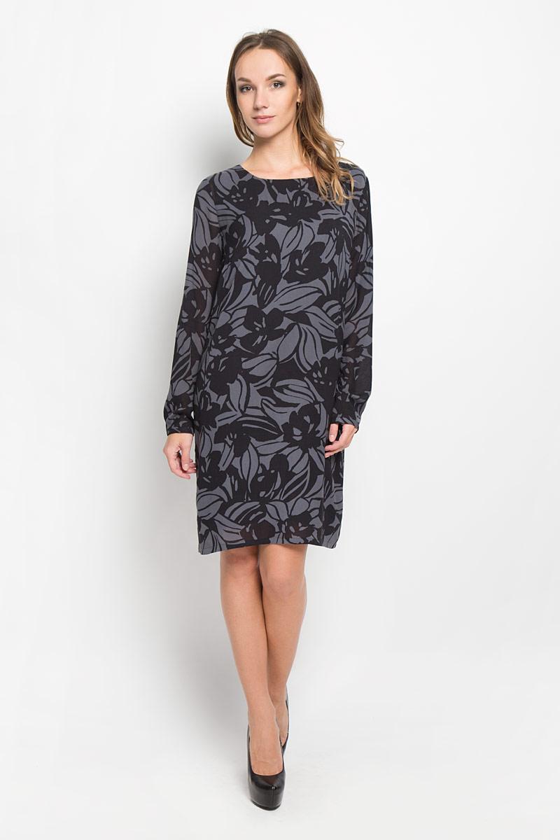 Платье Marc OPolo, цвет: темно-серый, черный. 176521121. Размер 38 (42)176521121/G03Стильное платье Marc OPolo идеально подойдет для вас и подчеркнет вашу индивидуальность. Выполненное из вискозы и полиэстера, оно мягкое и приятное на ощупь, не сковывает движений обеспечивая комфорт. Модель длины миди с круглой горловиной и длинными рукавами имеет прямой крой. Рукава дополнены манжетами, которые застегиваются на пуговку. Оформлено изделие интересным цветочным принтом. Такое платье непременно украсит ваш гардероб и добавит образу женственности.