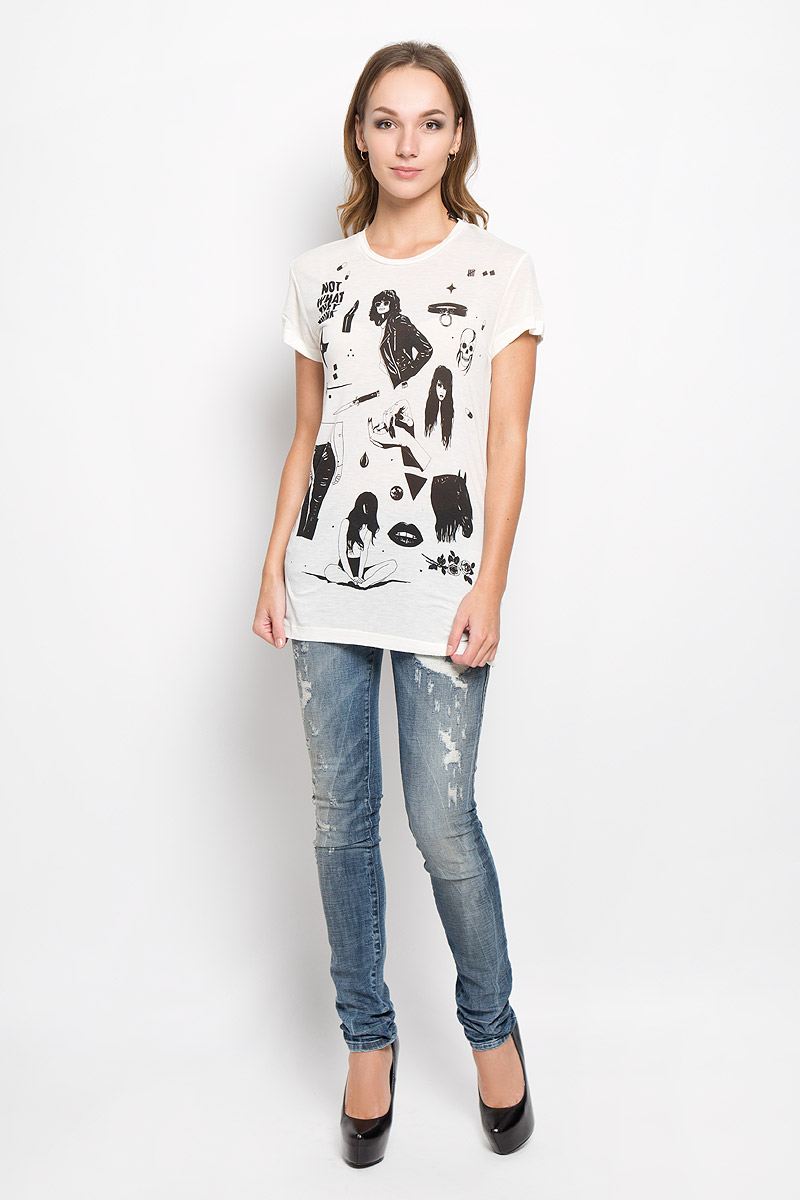 Футболка женская Diesel, цвет: молочный, черный. 00STU4-0WADY. Размер XL (50) футболка diesel 00s01m 0wady 39v