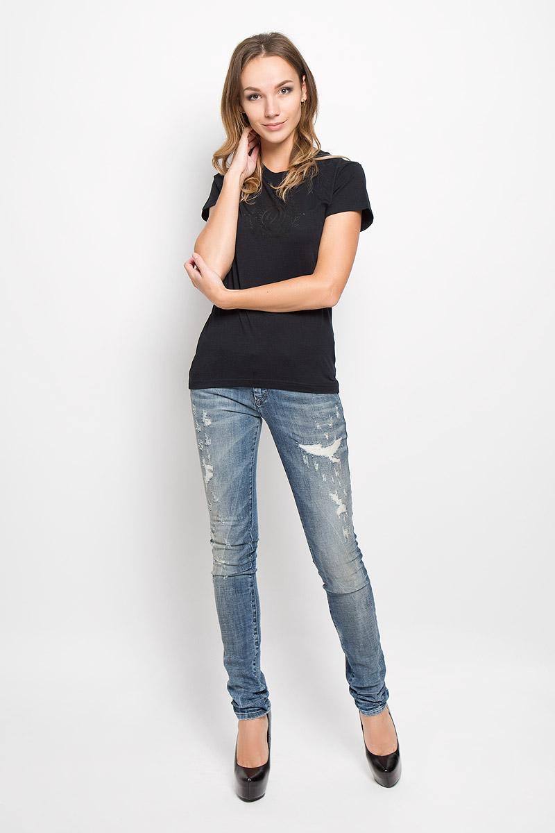 Футболка женская Diesel, цвет: черный. 00STTS-00CZJ. Размер XL (50) футболка женская diesel цвет серый 00svvb 00czj 96x размер xl 52