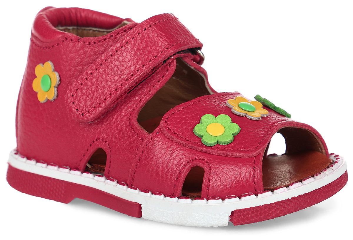 Сандалии для девочки Таши Орто, цвет: красный. 139-11. Размер 19Tas139-11Модные сандалии Таши Орто заинтересуют вашу девочку с первого взгляда. Модель выполнена из натуральной кожи. Застежка-липучка надежно фиксирует голеностоп и одновременно регулирует полноту, не ослабевает в процессе ежедневной носки, важный элемент ортопедической обуви. Мыс и боковая сторона декорированы яркими цветками. Анатомическая стелька из натуральной кожи с супинатором, не продавливающимся во время носки, обеспечивает правильное формирование стопы. Благодаря использованию современных внутренних материалов оптимально распределяется нагрузка по всей площади стопы, что дает ножке ощущение мягкости и комфорта. Полужесткий задник фиксирует ножку ребенка. Мягкая верхняя часть, которая плотно прилегает к ноге, и подкладка, изготовленная из натуральной кожи, позволяют избежать натирания. У изделия ортопедический каблук, продленный с внутренней стороны подошвы, его внутренняя часть длиннее наружной, укрепляет подошву под средней частью стопы и препятствует заваливанию стопы внутрь (что обычно наблюдается при вальгусной постановке). Эластичная подошва с рельефным протектором предназначена для правильного распределения нагрузки на опорно-двигательный аппарат ребенка, позволяет сгибаться стопе при ходьбе или беге анатомически правильно, в 1/3 стопы, а не посередине, позволяет сформировать правильную походку ребенка.