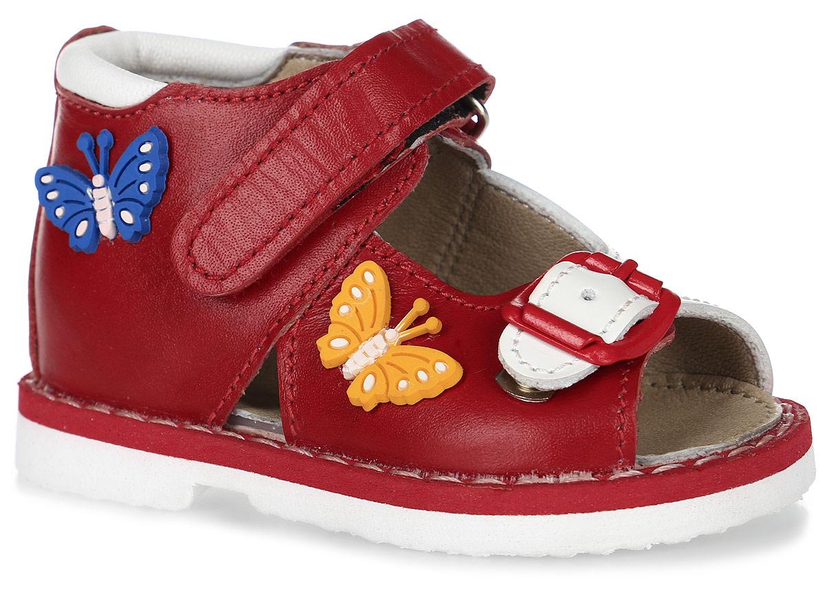 Сандалии для девочки Таши Орто, цвет: красный, белый. 129-251. Размер 18Tas129-251Модные сандалии Таши Орто заинтересуют вашу девочку с первого взгляда. Модель выполнена из натуральной кожи. Застежка-липучка и застежка-пряжка надежно фиксируют голеностоп и одновременно регулируют полноту, не ослабевают в процессе ежедневной носки, важный элемент ортопедической обуви. Боковая сторона декорирована нашивками в виде бабочек. Анатомическая стелька из натуральной кожи с супинатором, не продавливающимся во время носки, обеспечивает правильное формирование стопы. Благодаря использованию современных внутренних материалов оптимально распределяется нагрузка по всей площади стопы, что дает ножке ощущение мягкости и комфорта. Полужесткий задник фиксирует ножку ребенка. Мягкая верхняя часть, которая плотно прилегает к ноге, и подкладка, изготовленная из натуральной кожи, позволяют избежать натирания. У изделия ортопедический каблук, продленный с внутренней стороны подошвы, его внутренняя часть длиннее наружной, укрепляет подошву под средней частью стопы и препятствует заваливанию стопы внутрь (что обычно наблюдается при вальгусной постановке). Эластичная подошва с рельефным протектором предназначена для правильного распределения нагрузки на опорно-двигательный аппарат ребенка, позволяет сгибаться стопе при ходьбе или беге анатомически правильно, в 1/3 стопы, а не посередине, позволяет сформировать правильную походку ребенка.
