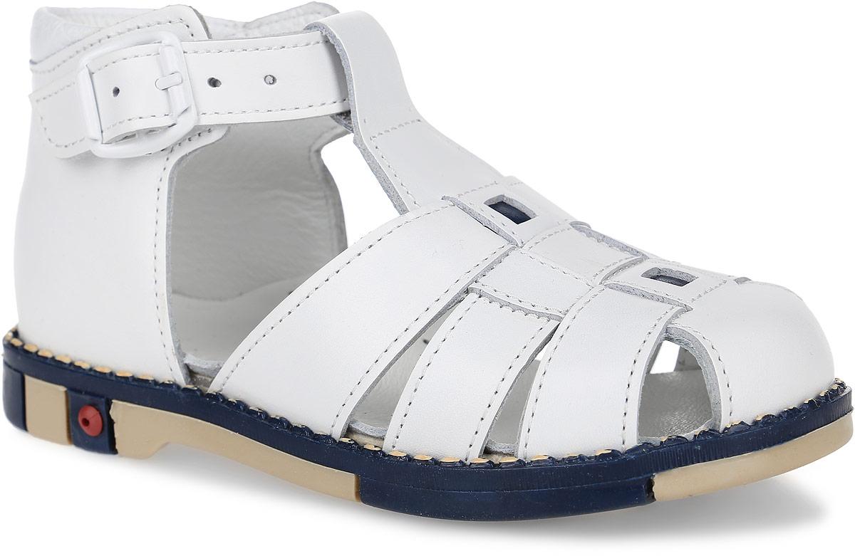 Сандалии детские Таши Орто, цвет: белый. 333-05. Размер 24Tas333-05Модные сандалии Таши Орто заинтересуют вашего ребенка с первого взгляда. Модель выполнена из натуральной кожи. Застежка-пряжка надежно фиксирует голеностоп и одновременно регулирует полноту, не ослабевает в процессе ежедневной носки, важный элемент ортопедической обуви. Анатомическая стелька из натуральной кожи с супинатором, не продавливающимся во время носки, обеспечивает правильное формирование стопы. Благодаря использованию современных внутренних материалов оптимально распределяется нагрузка по всей площади стопы, что дает ножке ощущение мягкости и комфорта. Полужесткий задник фиксирует ножку ребенка. Мягкая верхняя часть, которая плотно прилегает к ноге, и подкладка, изготовленная из натуральной кожи, позволяют избежать натирания. У изделия ортопедический каблук Томаса высотой от 2 до 5 мм (в зависимости от размера обуви), продленный с внутренней стороны подошвы, его внутренняя часть длиннее наружной, укрепляет подошву под средней частью стопы и препятствует заваливанию стопы внутрь (что обычно наблюдается при вальгусной постановке). Эластичная подошва с рельефным протектором предназначена для правильного распределения нагрузки на опорно-двигательный аппарат ребенка, позволяет сгибаться стопе при ходьбе или беге анатомически правильно, в 1/3 стопы, а не посередине, позволяет сформировать правильную походку ребенка.