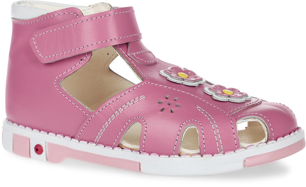 Сандалии для девочки Таши Орто, цвет: розовый. 344-03. Размер 24Tas344-03Модные сандалии Таши Орто заинтересуют вашу девочку с первого взгляда. Модель выполнена из натуральной кожи. Застежка-липучка надежно фиксирует голеностоп и одновременно регулирует полноту, не ослабевает в процессе ежедневной носки, важный элемент ортопедической обуви. Мыс декорирован кожаными цветками. Анатомическая стелька из натуральной кожи с супинатором, не продавливающимся во время носки, обеспечивает правильное формирование стопы. Благодаря использованию современных внутренних материалов оптимально распределяется нагрузка по всей площади стопы, что дает ножке ощущение мягкости и комфорта. Полужесткий задник фиксирует ножку ребенка. Мягкая верхняя часть, которая плотно прилегает к ноге, и подкладка, изготовленная из натуральной кожи, позволяют избежать натирания. У изделия ортопедический каблук, продленный с внутренней стороны подошвы, его внутренняя часть длиннее наружной, укрепляет подошву под средней частью стопы и препятствует заваливанию стопы внутрь (что обычно наблюдается при вальгусной постановке). Эластичная подошва с рельефным протектором предназначена для правильного распределения нагрузки на опорно-двигательный аппарат ребенка, позволяет сгибаться стопе при ходьбе или беге анатомически правильно, в 1/3 стопы, а не посередине, позволяет сформировать правильную походку ребенка.