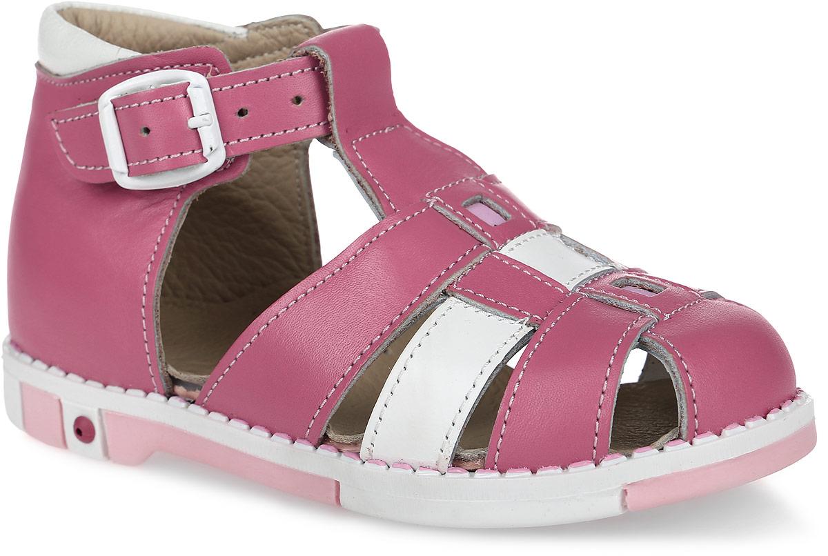 Сандалии для девочки Таши Орто, цвет: розовый, белый. 333-023. Размер 27Tas333-023Модные сандалии Таши Орто заинтересуют вашу девочку с первого взгляда. Модель выполнена из натуральной кожи. Застежка-пряжка надежно фиксирует голеностоп и одновременно регулирует полноту, не ослабевает в процессе ежедневной носки, важный элемент ортопедической обуви. Анатомическая стелька из натуральной кожи с супинатором, не продавливающимся во время носки, обеспечивает правильное формирование стопы. Благодаря использованию современных внутренних материалов оптимально распределяется нагрузка по всей площади стопы, что дает ножке ощущение мягкости и комфорта. Полужесткий задник фиксирует ножку ребенка. Мягкая верхняя часть, которая плотно прилегает к ноге, и подкладка, изготовленная из натуральной кожи, позволяют избежать натирания. У изделия ортопедический каблук, продленный с внутренней стороны подошвы, его внутренняя часть длиннее наружной, укрепляет подошву под средней частью стопы и препятствует заваливанию стопы внутрь (что обычно наблюдается при вальгусной постановке). Эластичная подошва с рельефным протектором предназначена для правильного распределения нагрузки на опорно-двигательный аппарат ребенка, позволяет сгибаться стопе при ходьбе или беге анатомически правильно, в 1/3 стопы, а не посередине, позволяет сформировать правильную походку ребенка.