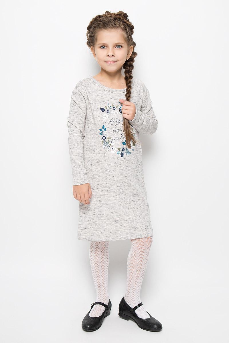 Платье для девочки Sela, цвет: бежево-серый. DK-617/429-6323. Размер 128, 8 летDK-617/429-6323Стильное платье Sela идеально подойдет вашей дочурке. Платье выполнено из натурального хлопка, оно необычайно мягкое и приятное на ощупь, не сковывает движения и позволяет коже дышать, не раздражает даже самую нежную и чувствительную кожу ребенка, обеспечивая наибольший комфорт. Платье-миди с длинными рукавами и круглым вырезом горловины застегивается на металлические кнопки, расположенные на спинке. По бокам модель дополнена двумя врезными карманами. Платье оформлено оригинальным принтом и стразами. Оригинальный современный дизайн и расцветка делают это платье модным и стильным предметом детского гардероба. В нем ваша девочка будет чувствовать себя уютно и комфортно и всегда будет в центре внимания!
