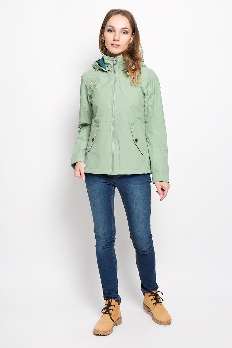 Куртка женская Didriksons1913 Lea, цвет: зеленый чай. 500372_283. Размер 40 (48)500372_283Удобная женская куртка Didriksons1913 Lea согреет вас в прохладную погоду и позволит выделиться из толпы. Модель с длинными рукавами и съемным капюшоном на змейке выполнена из водонепроницаемой и непродуваемой мембранной ткани. Проклеенные швы и дополнительная пропитка от внешней влаги обеспечивают максимальную защиту.Куртка застегивается на застежку-молнию спереди. Изделие дополнено двумя втачными карманами с клапанами на пуговицах спереди и внутренним втачным карманом на застежке-молнии с отверстием для наушников, а также внутренним накладным карманом на кнопке. Манжеты рукавов застегиваются на пуговицы. Капюшон и низ куртки дополнены шнурком-кулиской со стопперами.Эта модная и в то же время комфортная куртка - отличный вариант для прогулок, она подчеркнет ваш изысканный вкус и поможет создать неповторимый образ.