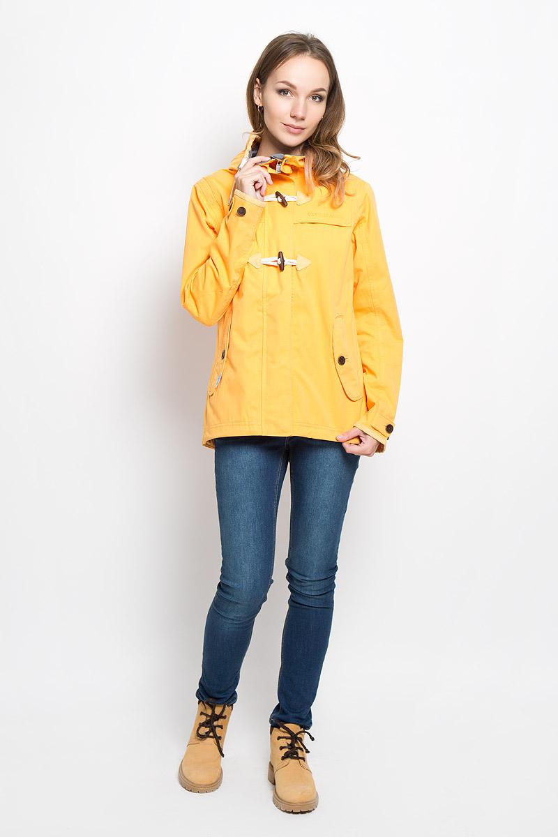 Куртка женская Didriksons1913 Lori, цвет: горчичный. 500419_285. Размер 38 (46)500419_285Удобная женская куртка Didriksons1913 Lori согреет вас в прохладную погоду и позволит выделиться из толпы. Модель с длинными рукавами и несъемным капюшоном выполнена из водонепроницаемой и непродуваемой мембранной ткани.Куртка застегивается на застежку-молнию спереди и имеет ветрозащитный клапан на кнопках и крупных пуговицах. Объем капюшона регулируется при помощи шнурка-кулиски. Изделие дополнено двумя втачными карманами с клапанами на пуговицах спереди и внутренним втачным карманом на застежке-молнии с отверстием для наушников, а также внутренним накладным карманом-сеткой. Манжеты рукавов куртки дополнены хлястиками с пуговицами. Низ и линия талии куртки дополнены шнурками-кулисками со стопперами. Эта модная и в то же время комфортная куртка - отличный вариант для прогулок, она подчеркнет ваш изысканный вкус и поможет создать неповторимый образ.