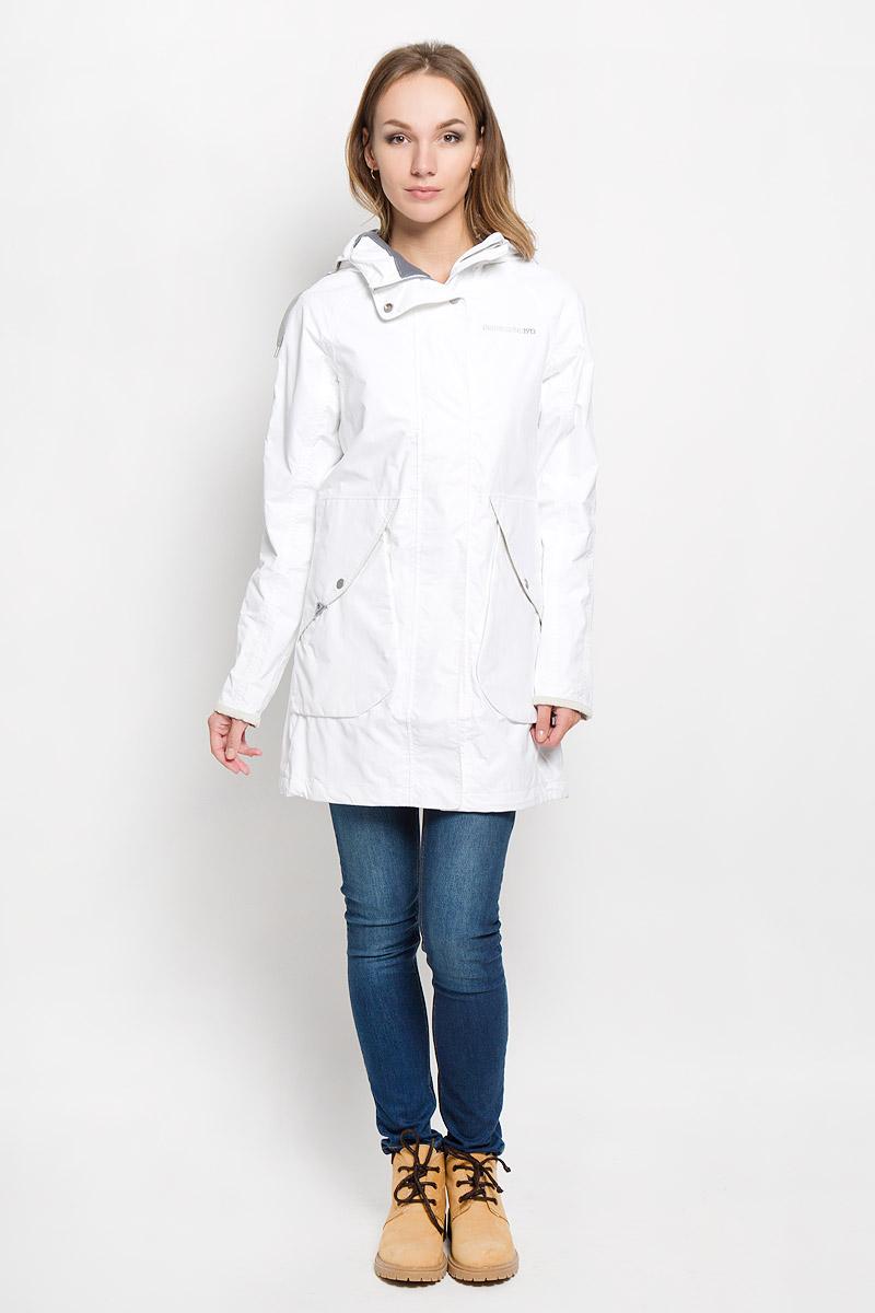 Куртка женская Didriksons1913 Tuva, цвет: белый. 500374_27. Размер 34 (42)500374_27Удлиненная женская куртка Didriksons1913 Tuva согреет вас в прохладную погоду и позволит выделиться из толпы. Модель с длинными рукавами-реглан и несъемным капюшоном выполнена из водонепроницаемой и непродуваемой мембранной ткани. Проклеенные швы и дополнительная пропитка обеспечивают максимальную защиту от внешней влаги.Куртка застегивается на застежку-молнию спереди и имеет ветрозащитный клапан на кнопках. Объем капюшона регулируется при помощи шнурка-кулиски, глубину можно увеличить благодаря кнопкам сверху. Изделие дополнено двумя накладными карманами с клапанами на кнопках, потайным кармашком на застежке-молнии, расположенным под ветрозащитным клапаном, внутренним карманом-сеткой и накладным карманом на кнопке. Манжеты рукавов куртки дополнены кнопками. Низ и линия талии куртки дополнены шнурками-кулисками со стопперами. Эта модная и в то же время комфортная куртка - отличный вариант для прогулок, она подчеркнет ваш изысканный вкус и поможет создать неповторимый образ.