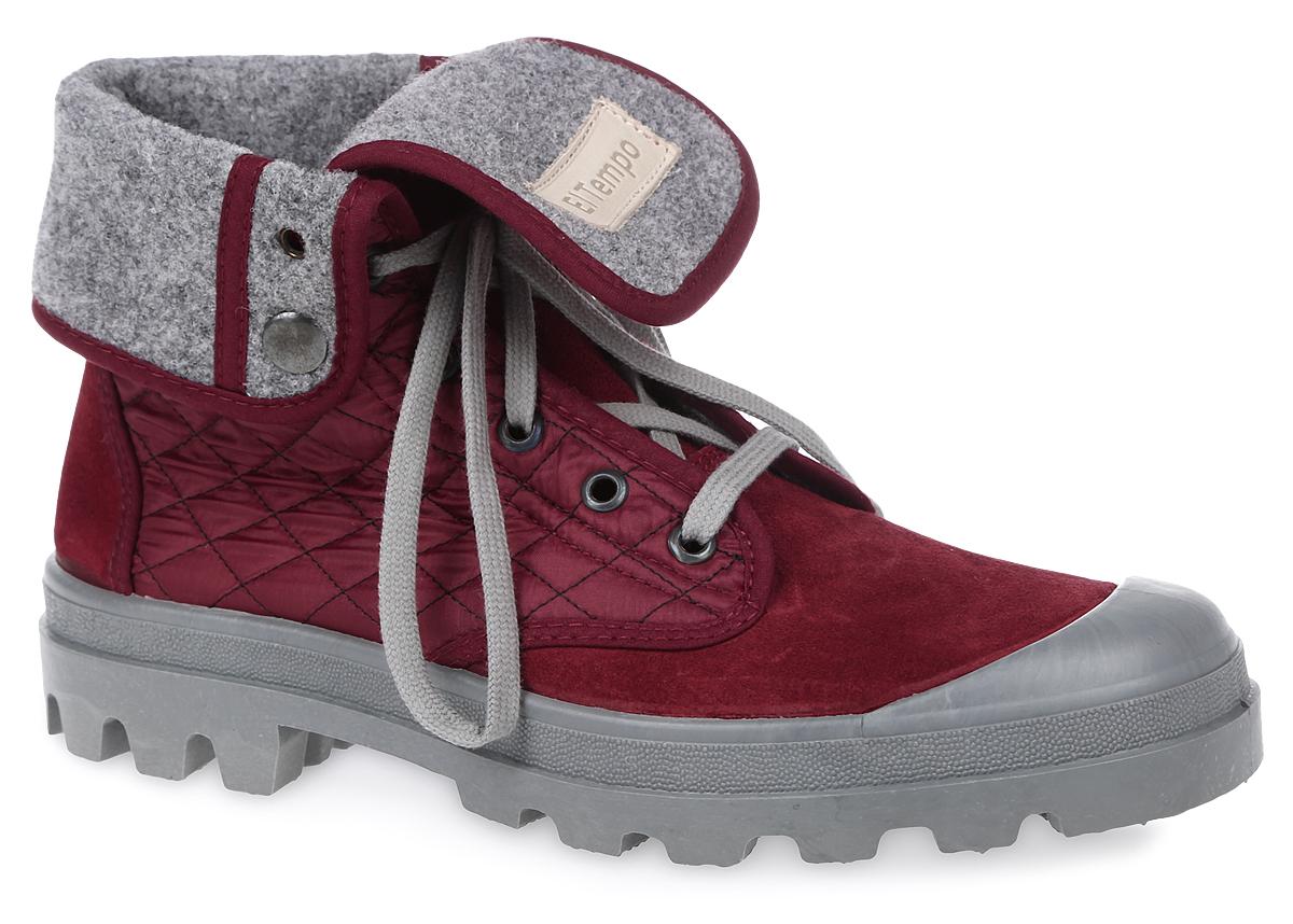 Ботинки женские El Tempo, цвет: бордовый. ENF10_111-05-10. Размер 38ENF10_111-05-10_BORDEAUXЖенские ботинки El Tempo выполнены из спилка и дополнены текстильными вставками со стеганым узором. Обувь фиксируется на ноге при помощи классической шнуровки. Подкладка и стелька выполнены из байки. Подошва из резины дополнена рифлением. Голенище дополнено двумя кнопками, позволяющими регулировать его длину.