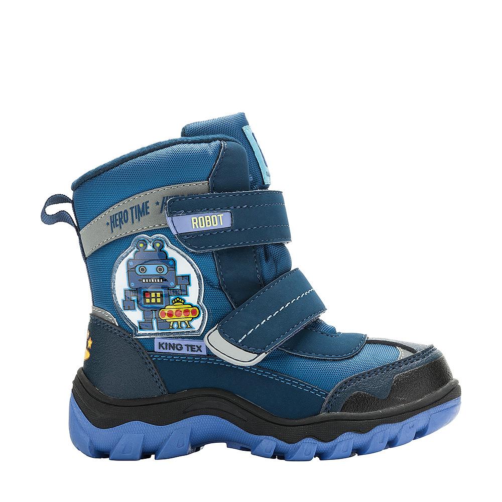 Ботинки для мальчика Kakadu, цвет: синий. 6497B. Размер 256497BБотинки от Kakadu непременно понравится как маленьким непоседам, так и их заботливым родителям. Модель, выполненная из текстиля King Tex и синтетической кожи, гарантирует непромокаемость. Укрепленные носок и пятка обладают необходимой степенью жесткости для поддержания формы на протяжении всего периода использования. Подкладка из шерсти обеспечивает ногам тепло и сухость при любых климатических условиях. Съемную стельку всегда можно вынуть или заменить. Подошва из термопластичной резины отличается хорошей сцепляемостью с поверхностью и высокой пружинистостью. Благодаря этим качествам дети могут совершать длительные прогулки без чувства усталости в ногах. Застежки-липучки надежно фиксируют изделие на ноге.