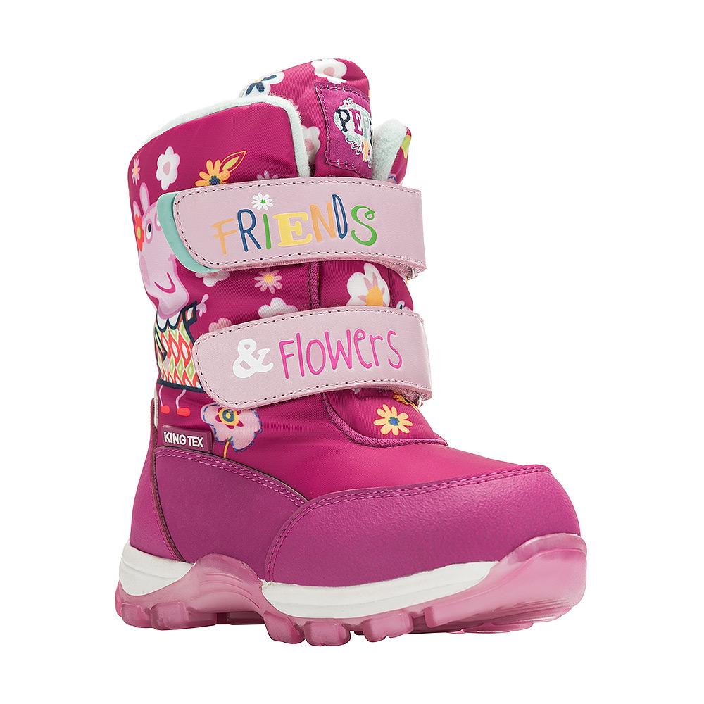 Ботинки для девочки Kakadu Peppa Pig, цвет: фуксия. 6549A. Размер 246549AДетские зимние ботинки Peppa Pig от Kakadu придутся по душе вашей девочке. Обувь отличается от аналогов модным дизайном и высокой эргономичностью. Модель оснащена мембраной King Tex. Подкладка из натуральной шерсти обеспечивает ногам тепло и сухость при любых климатических условиях. Съемную стельку ботинок всегда можно вынуть или заменить. Подошва из термопластичной резины отличается малым, хорошей сцепляемостью с поверхностью и высокой пружинистостью. Благодаря этим качествам дети могут совершать длительные прогулки без чувства усталости в ногах. Детские зимние ботинки оформлены ярким рисунком свинки Пеппы. Ремешки на липучках надежно фиксируют изделие на ноге.