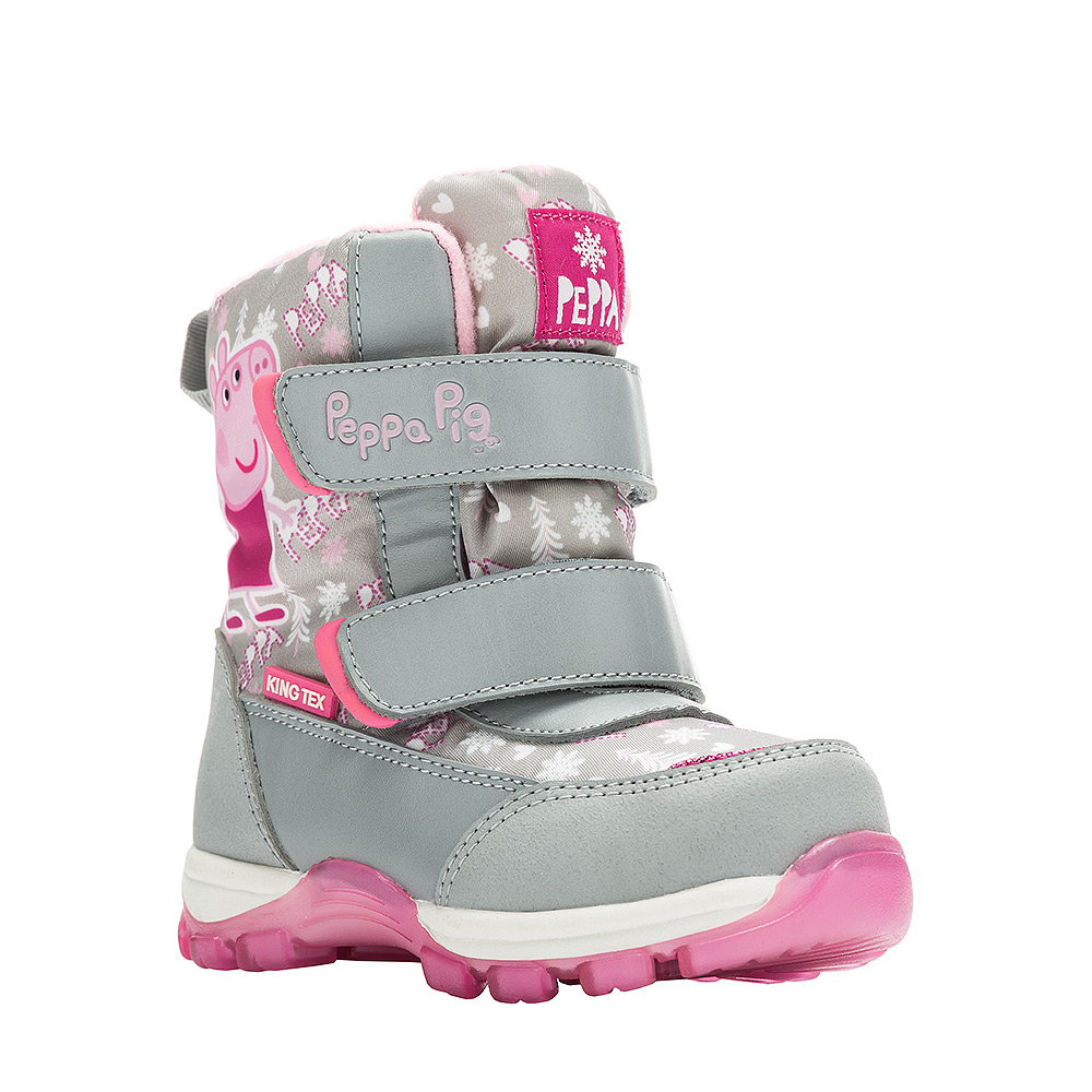 Ботинки для девочки Kakadu Peppa Pig, цвет: серый. 6550A. Размер 246550AДетские зимние ботинки Peppa Pig от Kakadu придутся по душе вашей девочке. Обувь отличается от аналогов модным дизайном и высокой эргономичностью. Модель оснащена мембраной King Tex. Подкладка из натуральной шерсти обеспечивает ногам тепло и сухость при любых климатических условиях. Подошва из термопластичной резины отличается малым, хорошей сцепляемостью с поверхностью и высокой пружинистостью. Благодаря этим качествам дети могут совершать длительные прогулки без чувства усталости в ногах. Детские зимние ботинки оформлены ярким рисунком свинки Пеппы. Ремешки на липучках надежно фиксируют изделие на ноге.