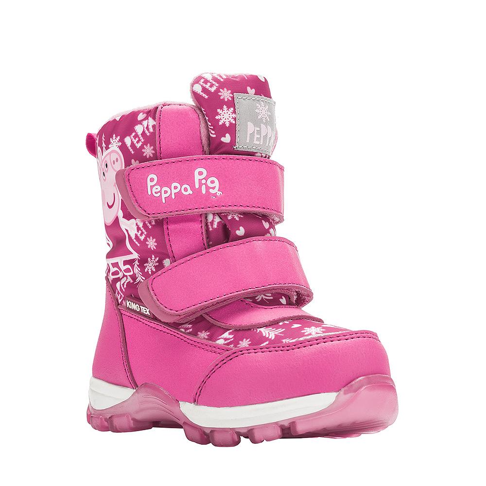 Ботинки для девочки Kakadu Peppa Pig, цвет: фуксия. 6550B. Размер 236550BДетские зимние ботинки Peppa Pig от Kakadu придутся по душе вашей девочке. Обувь отличается от аналогов модным дизайном и высокой эргономичностью. Модель оснащена мембраной King Tex. Подкладка из натуральной шерсти обеспечивает ногам тепло и сухость при любых климатических условиях. Подошва из термопластичной резины отличается малым, хорошей сцепляемостью с поверхностью и высокой пружинистостью. Благодаря этим качествам дети могут совершать длительные прогулки без чувства усталости в ногах. Детские зимние ботинки оформлены ярким рисунком свинки Пеппы. Ремешки на липучках надежно фиксируют изделие на ноге.