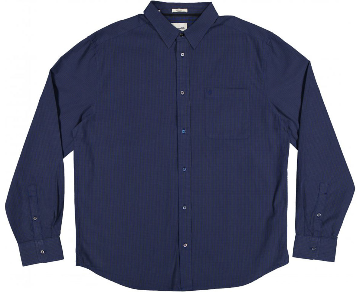 Рубашка мужская Wrangler, цвет: синий, коричневый. W59309B16. Размер L (50)W59309B16Стильная мужская рубашка Wrangler, выполненная из 100% хлопка, подчеркнет ваш уникальный стиль и поможет создать оригинальный образ.Рубашка с длинными рукавами и отложным воротником застегивается на пуговицы спереди. Рукава рубашки дополнены манжетами, которые также застегиваются на пуговицы. Модель выполнена стильным принтом в мелкую клетку. На груди рубашка дополнена накладным карманом с вышитым логотипом бренда.