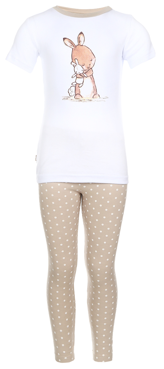 Пижама детская КотМарКот Зайчик, цвет: бежевый, белый. 16750. Размер 128, 8 лет