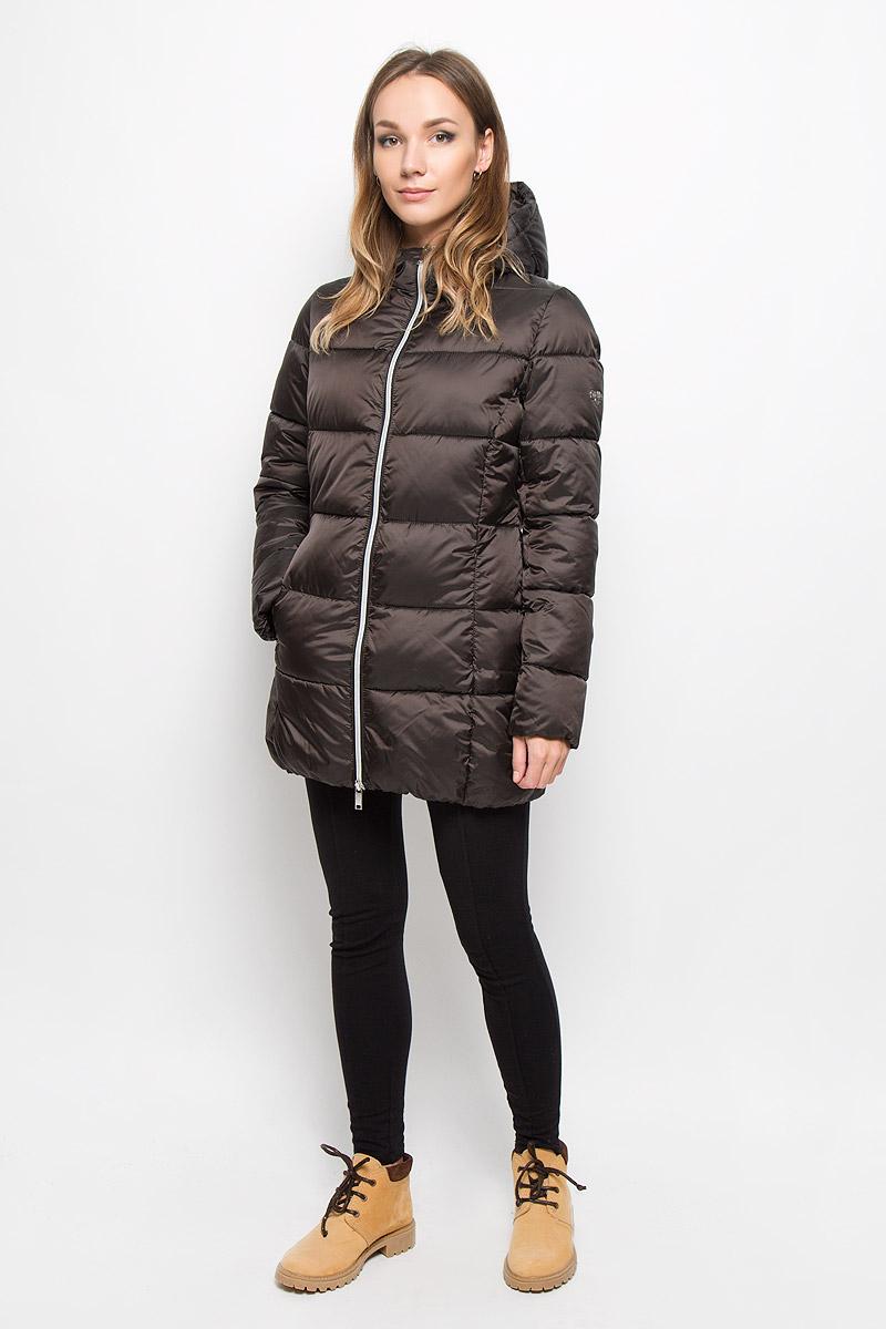 Куртка женская Grishko, цвет: темный шоколад. AL-2962. Размер 44AL-2962Стильная молодежная удлиненная куртка Grishko выполнена из высококачественного полиамида и 100% утеплителя-полиэстера.Модель застегивается на застежку-молнию спереди и дополнена элегантным глубоким капюшоном, который регулируется в размере с помощью резинки со стопперами и дополнительно защищает от непогоды. Такая курточка выполнена в лаконичном стиле и дополнена на одном рукаве металлической пластиной с названием бренда. Незаменимая модель в холодную осеннюю и зимнюю погоду. Утеплитель 100% полиэстер.
