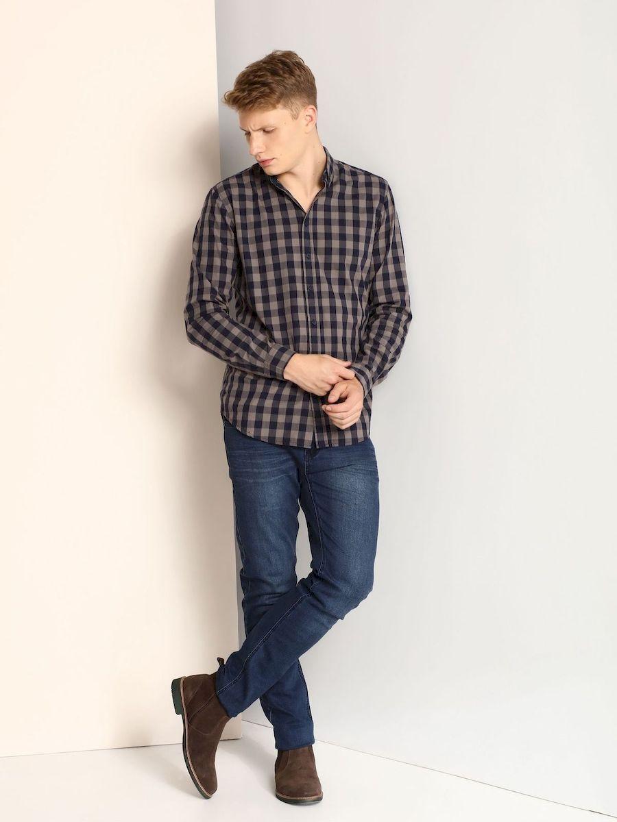 Рубашка мужская Top Secret, цвет: серый, темно-синий. SKL2098ZI. Размер 38/39 (46)SKL2098ZIМужская приталенная рубашка выполнена из хлопка и оформлена клетчатым принтом. Спереди изделие застегивается на пуговицы. Модель со стандартным длинным рукавом и отложным воротником.