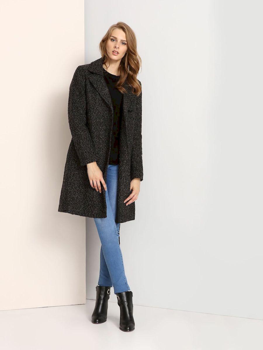 Пальто женское Troll, цвет: темно-серый. TPZ0112SZ. Размер L (48)TPZ0112SZСтильное женское пальто Troll выполнено из высококачественного полиэстера.Модель с длинными рукавами и воротником с лацканами застегивается на кнопки. Спереди расположены два прорезных кармана. Пальто дополнено поясом на талии.