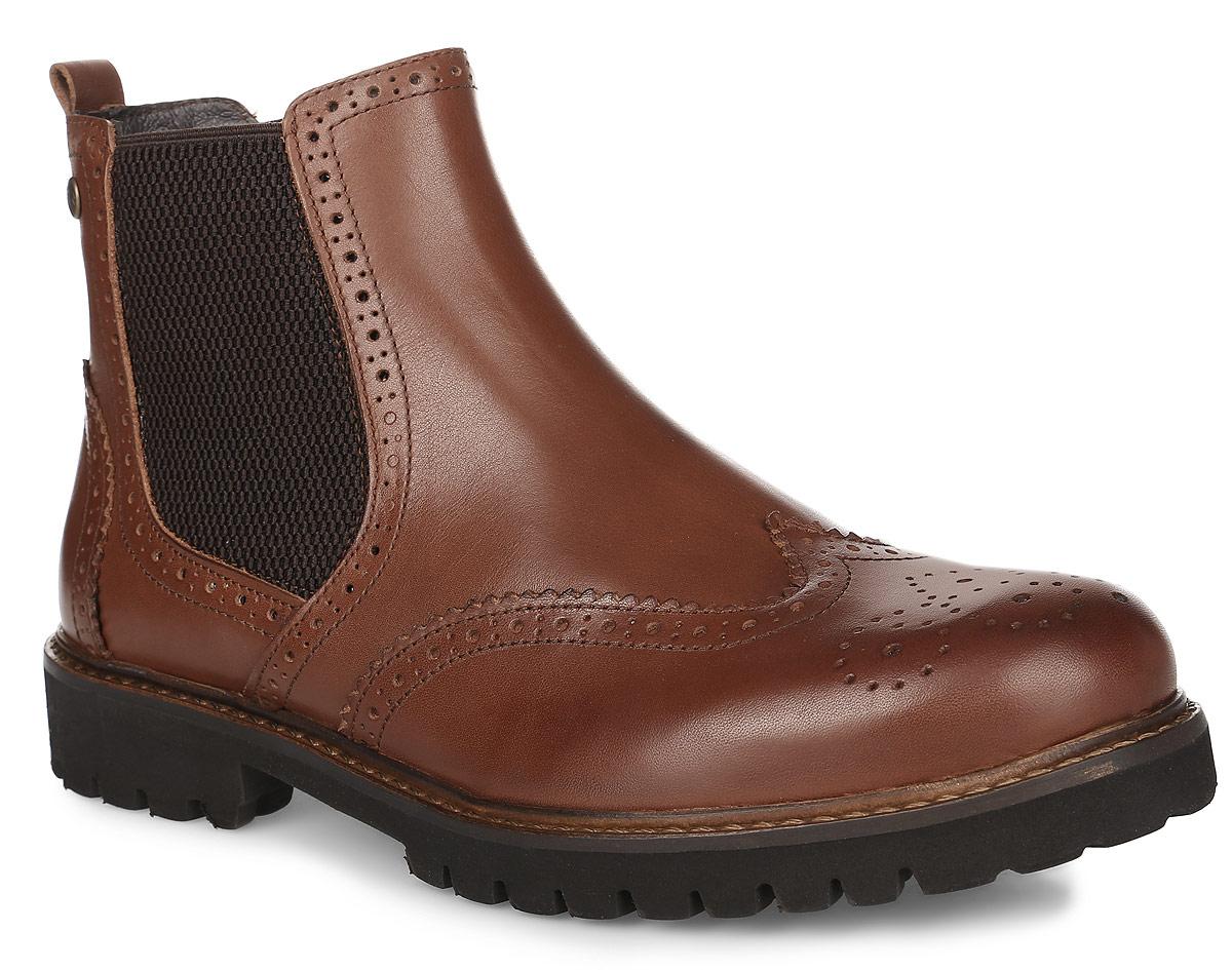 Челси мужские El Tempo, цвет: коричневый. PP263_5863. Размер 42PP263_5863_BROWNМужские челси от El Tempo, выполненные из натуральной кожи, оформлены декоративной прострочкой и перфорацией. По бокам расположены эластичные вставки. Стелька, выполненная из шерсти, предотвратит натирание и обеспечит комфорт при носке. Поверхность стельки оформлена фирменной нашивкой. Подошва, изготовленная из прочной и гибкой резины, дополнена небольшим каблуком. Протекторы с рифлением на подошве гарантируют отличное сцепление с различными поверхностями.
