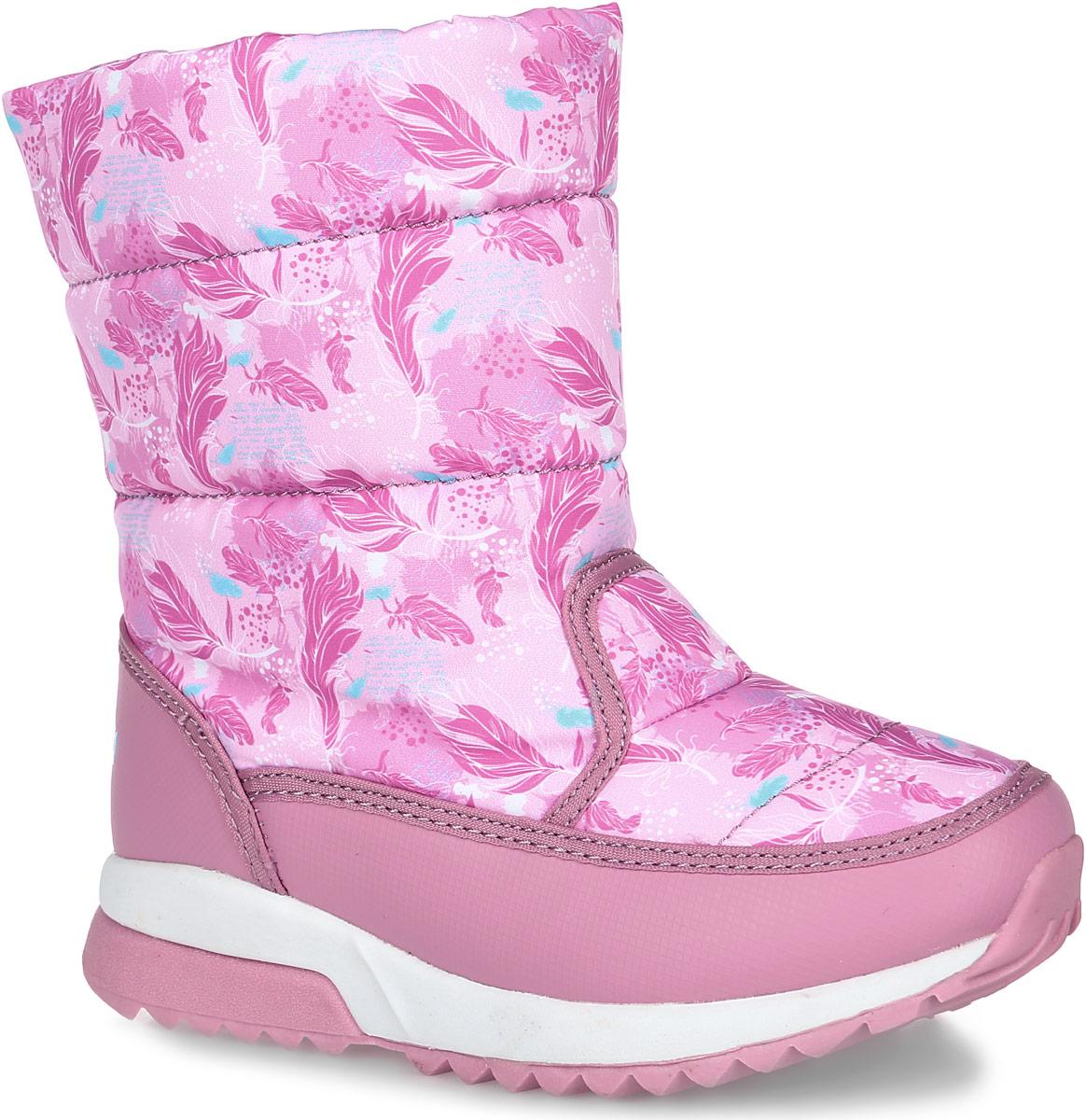 Дутики для девочки Kapika, цвет: розовый. 724д-1. Размер 31724д-1Дутики для девочки от Kapika выполнены из текстильного материала и дополнены вставками из искусственной кожи. Модель оформлена оригинальным принтом в виде перышек. Сбоку расположена застежка-молния, которая облегчит процесс обувания. Стелька, изготовленная из текстильного материала на 30% состоящего из шерсти, отлично сохраняет тепло и надежно защищает от холода, а также создаёт условия для удобного и долговечного использования. Рифленая подошва из ЭВА-материала обеспечивает отличную амортизацию и поглощение ударов и гарантирует отличное сцепление с любой поверхностью, а вставки из материала ТЭП повысят износостойкость подошвы.