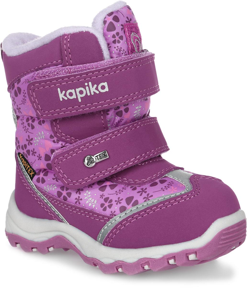 Ботинки для девочки Kapika, цвет: фуксия. 41134-3. Размер 2341134-3Ботинки от Kapika выполнены из искусственной кожи с вставками из текстиля. Модель оформлена оригинальным принтом и фирменными нашивками. Передняя и задняя части дополнены накладками для уменьшения износа обуви. Модель фиксируется на ноге с помощью ремешков с застежками-липучками. Ярлычок на заднике облегчает надевание обуви. Подошва изготовлена из прочного и легкого ТЭП-материала, а ее рифленая поверхность гарантирует отличное сцепление с любой поверхностью.
