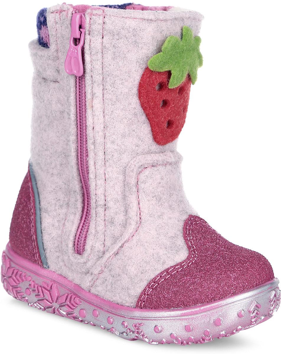 Валенки для девочки Kapika, цвет: розовый. 00112-1. Размер 2500112-1Теплые и стильные валенки от Kapika понравятся вашей девочке с первого взгляда. Модель выполнена из войлока и оформлена нашивкой в виде клубники. Носочная и задняя части дополнены прорезиненными накладками для лучшей сохранности обуви. Обувь фиксируется на ноге с помощью удобных молний, расположенных с боковых сторон модели. Подкладка и стелька из натуральной шерсти обеспечат ножкам тепло и уют. Мягкий кант создает комфорт при ходьбе и предотвращают натирание ножки ребенка. Подошва выполнена из качественного полимерного материала, а ее рифление гарантирует отличное сцепление с любой поверхностью.Такие валенки займут достойное место в гардеробе вашего ребенка.