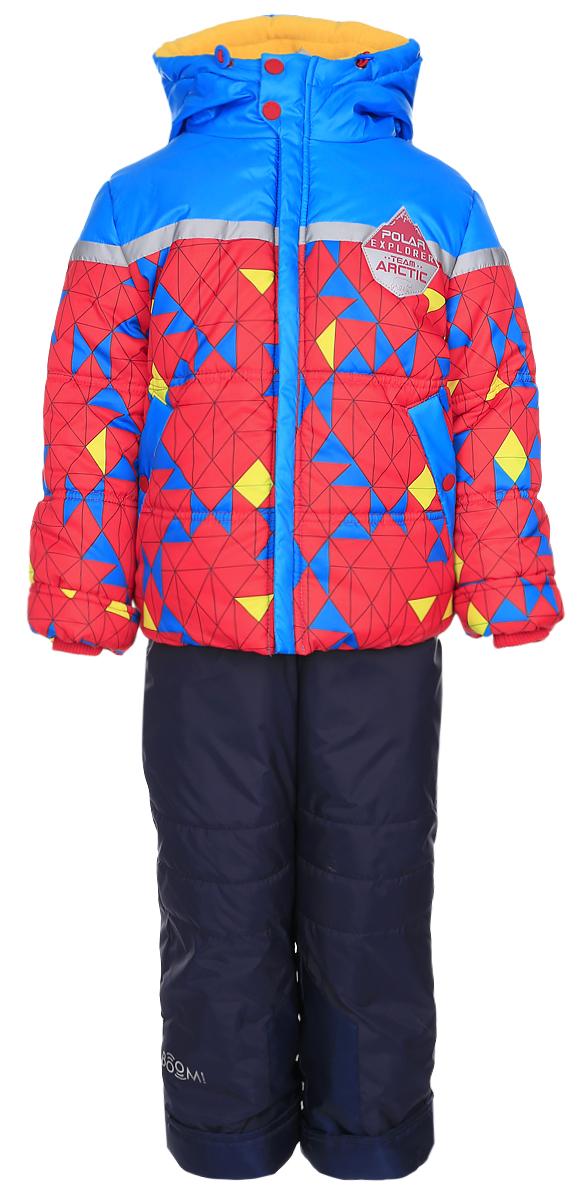 Комплект для мальчика Boom!: куртка, полукомбинезон, цвет: красный, темно-синий. 64362_BOB_вар.3. Размер 86, 1,5-2 года64362_BOB_вар.3Яркий комплект для мальчика Boom!, состоящий из куртки и полукомбинезона, идеально подойдет вашему ребенку в холодную погоду. Комплект, изготовленный из водоотталкивающей и ветрозащитной ткани, утеплен синтепоном. В качестве подкладки используется полиэстер с добавлением вискозы. Куртка с капюшоном застегивается на пластиковую молнию. Капюшон не отстегивается и регулируется скрытой резинкой с стопперами.Манжеты рукавов отделаны эластичной широкой резинкой, которая мягко обхватывает запястья, не позволяя просачиваться холодному воздуху. По бокам куртка дополнена двумя прорезными кармашками на кнопках. Внизу изделие дополнено ветрозащитной вставкой от ветра и снега, застегивается на кнопку. Оформлена модель ярким принтом и украшена небольшой нашивкой на груди. Полукомбинезон застегивается на застежку-молнию. Модель оснащена эластичными наплечными лямками, регулируемыми по длине. Лямки пристегиваются при помощи застежек-липучек. На талии предусмотрена широкая эластичная резинка, которая позволяет надежно заправить водолазку или свитер. По бокам полукомбинезон дополнен двумя прорезными кармашками. Длину модели можно регулировать при помощи отворотов. Снизу брючин предусмотрены внутренние манжеты с прорезиненными полосками.Изделие дополнено светоотражающими элементами для безопасности ребенка в темное время суток.Комфортный, удобный и практичный комплект отлично подойдет для прогулок и игр на свежем воздухе!