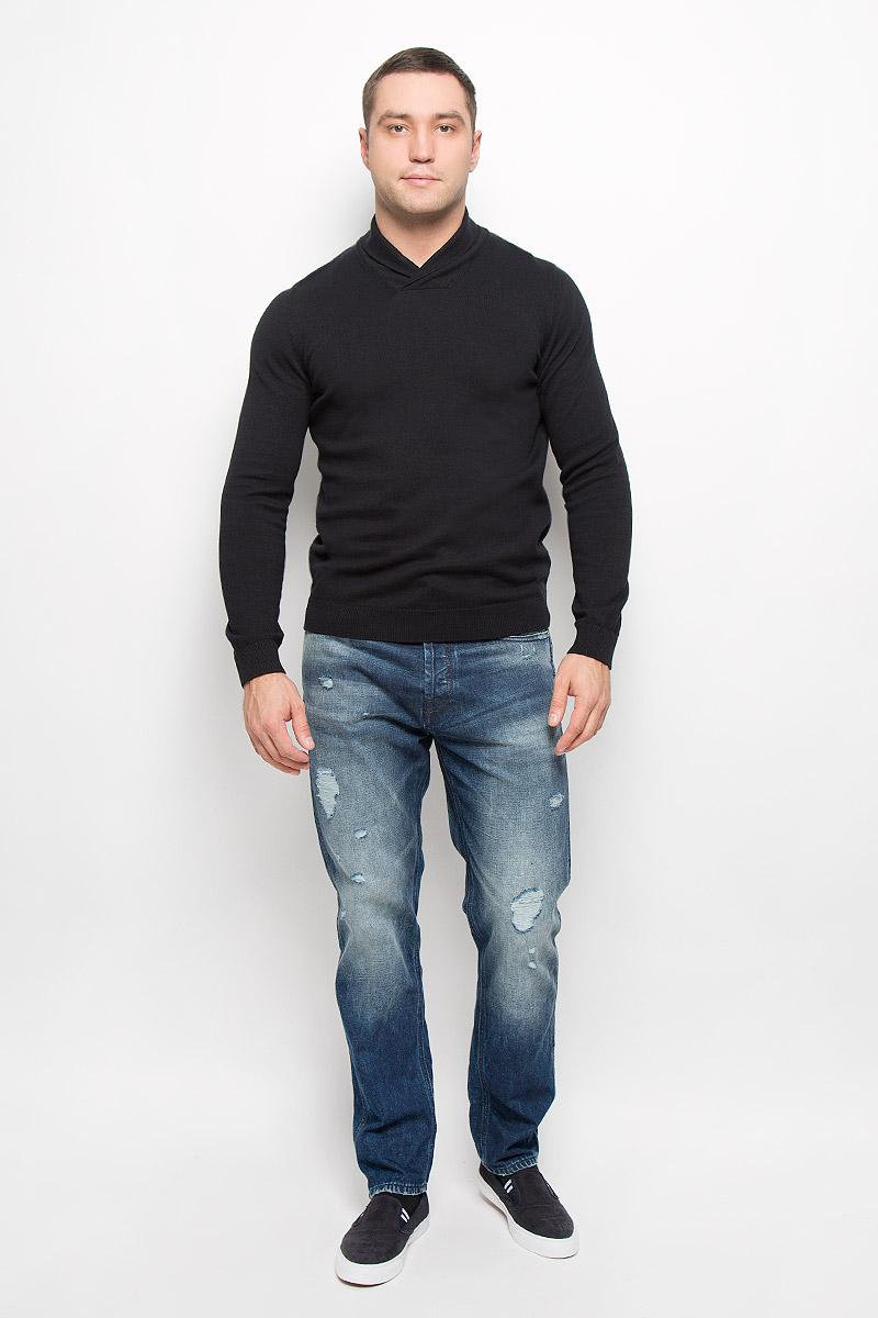 Джемпер мужской Jack & Jones Premium, цвет: черный. 12110636. Размер XXL (52)12110636_BlackСтильный мужской джемпер Jack & Jones, выполненный из натурального хлопка, станет стильным дополнением к вашему образу. Материал изделия очень мягкий и тактильно приятный, не стесняет движений, хорошо пропускает воздух.Джемпер с воротником-шалью и длинными рукавами. Манжеты рукавов и низ изделия связаны резинкой.Джемпер - идеальный вариант для создания образа в стиле Casual. Он подарит вам уют и комфорт в течение всего дня.