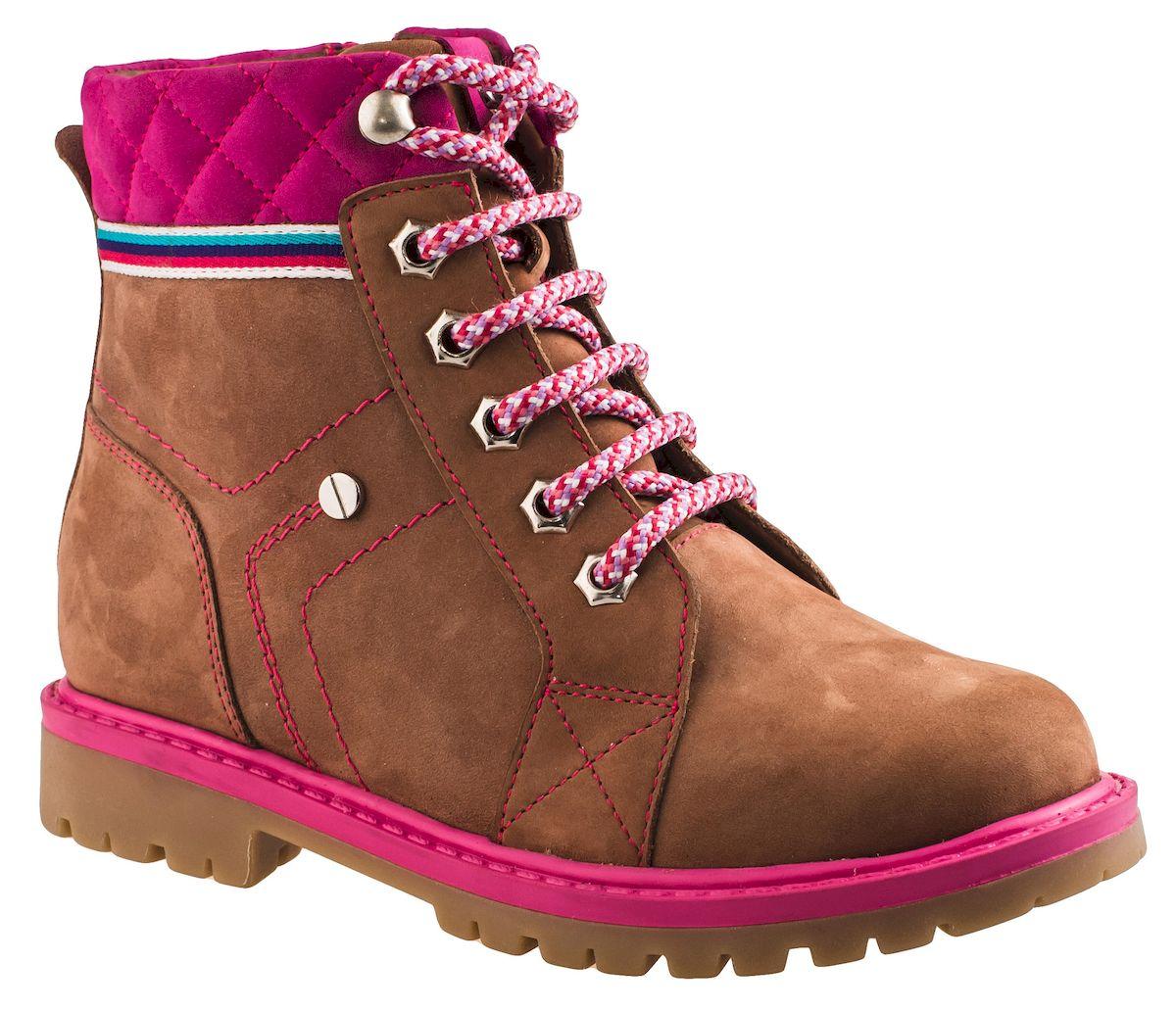 Ботинки для девочки Elegami, цвет: коричневый, фуксия. 5-519631601. Размер 345-519631601Модные ботинки для девочки от Elegami выполнены из натурального нубука и оформлены контрастной прострочкой. Шнуровка надежно зафиксирует модель на ноге. Боковая застежка-молния позволяет легко снимать и надевать модель. Подкладка из шерсти и стелька из шерсти и текстиля не дадут ногам замерзнуть. Подошва и невысокий каблук дополнены рифлением.