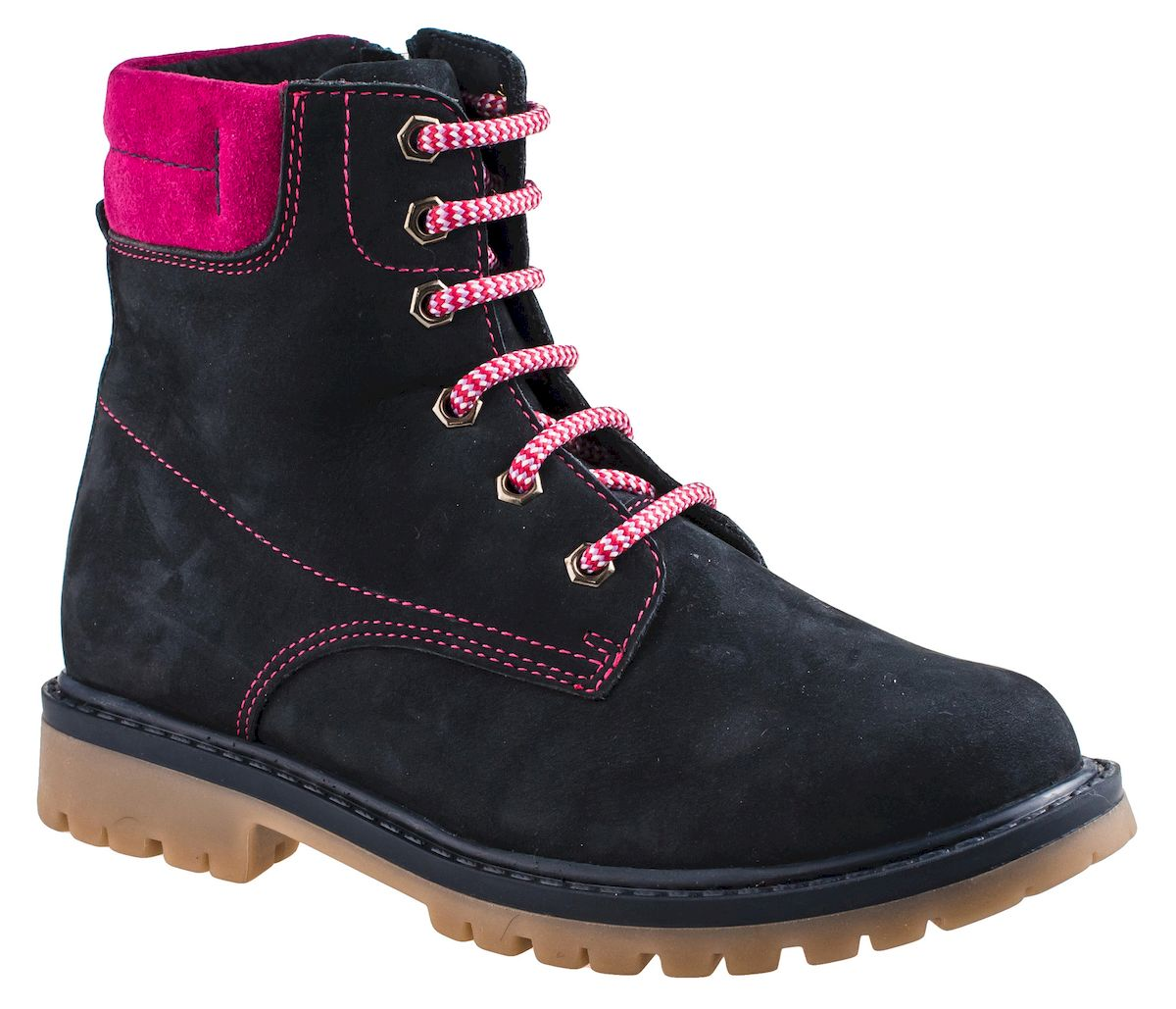 Ботинки для девочки Elegami, цвет: темно-синий, фуксия. 3/4-516201601. Размер 39516201601Модные ботинки для девочки от Elegami выполнены из натурального нубука и оформлены контрастной прострочкой. Шнуровка надежно зафиксирует модель на ноге. Боковая застежка-молния позволяет легко снимать и надевать модель. Подкладка и стелька из шерсти и текстиля не дадут ногам замерзнуть. Подошва и невысокий каблук дополнены рифлением.