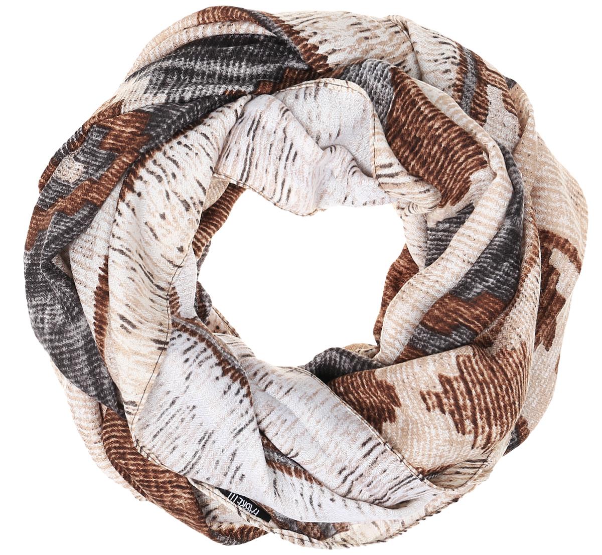 Шарф женский Fabretti, цвет: бежевый, серый, коричневый. TUTF410. Размер 90 см х 180 смTUTF410-3Женский шарф Fabretti подарит уют и согреет от холодного ветра. Изготовленный из высококачественной вискозы, он очень легкий, мягкий, имеет приятную на ощупь текстуру. Модель оформлена орнаментом. Изделие по краям дополнено кисточками. Такой аксессуар станет стильным дополнением к образу современной женщины, стремящейся всегда оставаться яркой и элегантной.