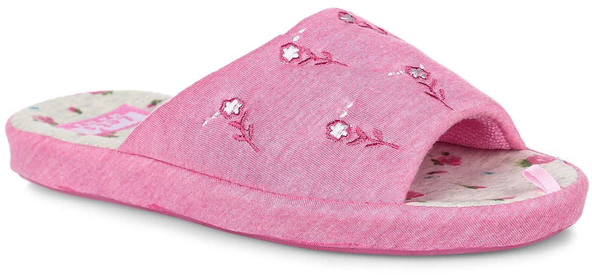 Тапки женские Lets, цвет: розовый. LTW0028-16. Размер 37 (36)LTW0028-16Тапки от Lets выполнены из качественного текстиля и ПВХ. Модель оформлена оригинальной вышивкой с изображением цветов. Подкладка выполнена из ворсистого текстиля. Стелька выполнена из мягкого текстиля и оформлена цветочным принтом. Подошва изготовлена из легкого и гибкого ПВХ и дополнена текстильным покрытием. Поверхность подошвы оформлена фирменным протектором.