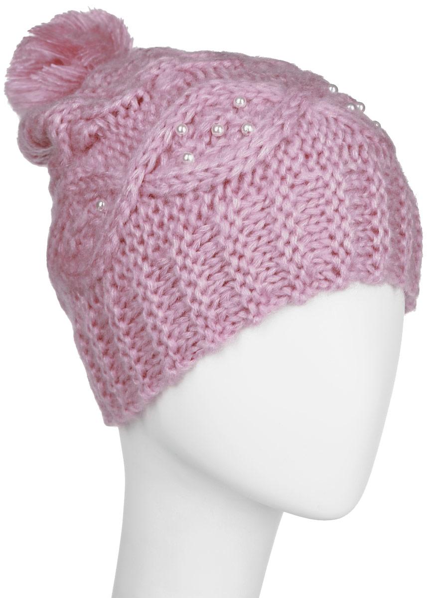 Шапка для девочки Sela, цвет: нежно-розовый. HAk-641/015AK-6404. Размер 54/56HAk-641/015AK-6404Стильная вязаная шапка для девочки Sela идеально подойдет для прогулок в прохладное время года. Изготовленная из акрила, она обладает хорошими дышащими свойствами и хорошо удерживает тепло.Шапка декорирована имитацией жемчуга, а на макушке украшена небольшим помпоном. Понизу проходит широкая вязаная резинка.Такая шапка станет модным и стильным предметом детского гардероба. Она улучшит настроение даже в хмурые прохладные дни! Уважаемые клиенты!Размер, доступный для заказа, является обхватом головы ребенка.