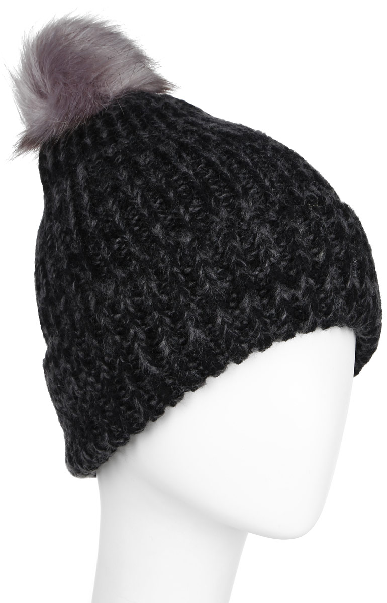 Шапка женская Sela, цвет: черный, темно-серый. HAk-141/020-6404. Размер 56/58HAk-141/020-6404Стильная женская шапка Sela дополнит ваш наряд и не позволит вам замерзнуть в холодное время года. Шапка крупной вязки выполнена из высококачественной пряжи акрила, что позволяет ей великолепно сохранять тепло и обеспечивает высокую эластичность и удобство посадки. Шапка оформлена пушистым помпоном из искусственного меха.Такая шапка станет модным и стильным дополнением вашего гардероба. Она согреет вас и позволит подчеркнуть свою индивидуальность!Уважаемые клиенты!Размер, доступный для заказа, является обхватом головы.