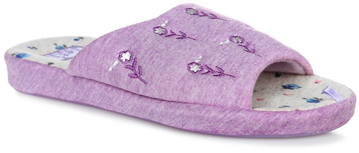 Тапки женские Lets, цвет: сиреневый. LTW0028-25. Размер 36 (35)LTW0028-25Тапки от Lets выполнены из качественного текстиля и ПВХ. Модель оформлена оригинальной вышивкой с изображением цветов. Подкладка выполнена из ворсистого текстиля. Стелька выполнена из мягкого текстиля и оформлена цветочным принтом. Подошва изготовлена из легкого и гибкого ПВХ и дополнена текстильным покрытием. Поверхность подошвы оформлена фирменным протектором.