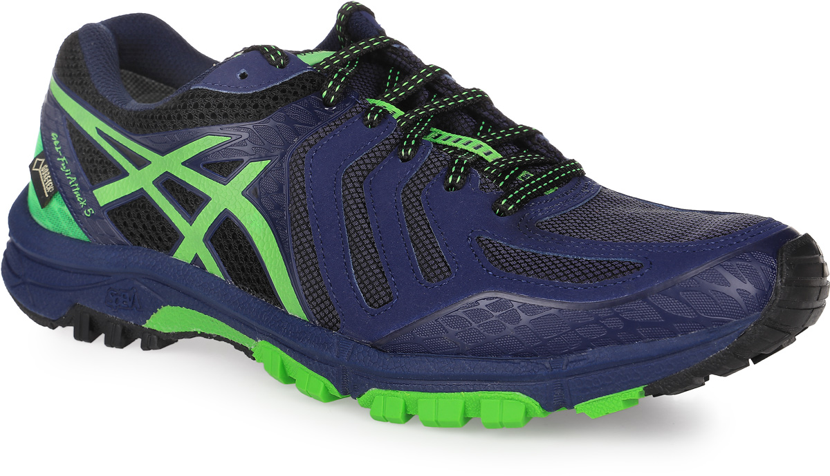 Кроссовки для бега мужские Asics GEL-Fujiattack 5 G-TX, цвет: темно-синий, зеленый. T631N-9085. Размер 11H (44,5)T631N-9085Кроссовки для бега Asics выполнены из сетчатого текстиля комбинированных цветов и дополнены элементами из искусственной кожи. Модель оформлена фирменными нашивками. На ноге модель фиксируется с помощью шнурков. Внутренняя поверхность выполнена из мягкого сетчатого текстиля. Стелька выполнена из ЭВА-материала с поверхностью из текстиля. Подошва изготовлена из прочной и гибкой резины и дополнена протектором, который гарантирует отличное сцепление с любой поверхностью.
