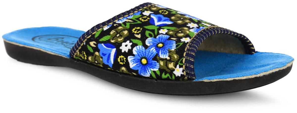 Тапки женские Bris, цвет: голубой, черный. 0508-8 В РУ. Размер 36 (35)0508-8 В РУТапки от Bris выполнены из качественного текстиля и полиуретана. Модель оформлена оригинальным цветочным принтом. Подкладка и стелька выполнены из мягкого утепленноготекстиля. Подошва изготовлена из легкого и гибкого полиуретана.