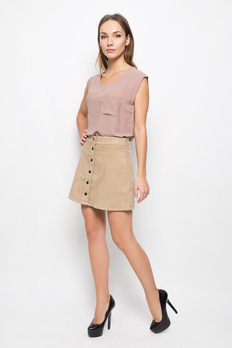 Юбка Glamorous, цвет: бежевый. CK2054A. Размер L (48)CK2054A_StoneВельветовая юбка Glamorous дополнит ваш образ и подчеркнет индивидуальность. Изделие мягкое и тактильно приятное, не сковывает движений, обеспечивая комфорт.Модель трапециевидного кроя застегивается спереди на кнопки.Стильная юбка непременно украсит ваш гардероб и добавит образу женственности!