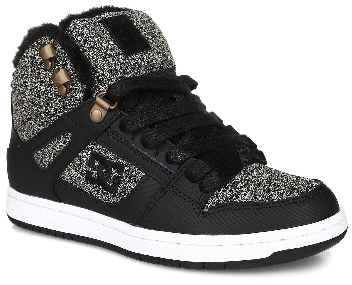 Кеды женские DC Shoes Rebound High Wnt, цвет: черный, серый. ADJS100054-BKZ. Размер 7B (38)ADJS100054-BKZКеды от DC Shoes выполнены из кожи с синтетической кожи с покрытием и оформлены текстильной нашивкой и логотипом бренда. Задник оформлен вышивкой с логотипом бренда. На ноге модель фиксируется с помощью шнурков. Внутренняя поверхность и стелька выполнены из искусственного меха, который обеспечит тепло.Подошва из высококачественной резины и дополнена протектором, который гарантирует отличное сцепление с любой поверхностью.
