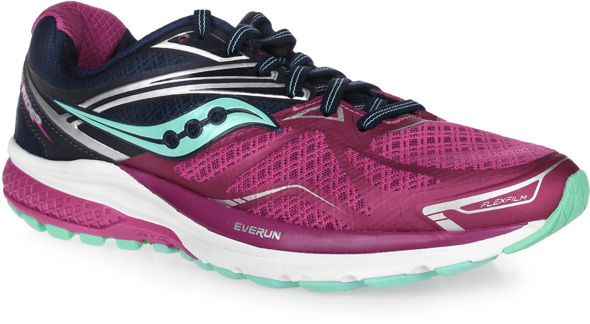 Кроссовки для бега женские Saucony Ride 9, цвет: пурпурный, темно-синий. S10318-3. Размер 9 (40) - Бег
