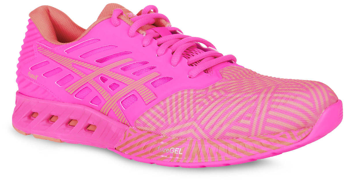 Кроссовки для бега женские Asics fuzeX, цвет: розовый, персиковый. T6K8N-2076. Размер 8 (38)T6K8N-2076Женские кроссовки для бега fuzeX от Asics выполнены из текстильного материала с полимерными вставками. Удобная шнуровка надежно фиксирует модель на стопе. Внутренняя отделка выполнена из мягкого текстиля. Стелька fuzeGEL равномерно распределяет вес и позволяет преодолевать и длинные дистанции, а благодаря опущенной на 8 мм пятке, что ниже, чем у кроссовок для шоссейного бега, вы сможете прочувствовать рельеф поверхности. Длительные забеги станут легче в кроссовках с амортизацией fuzeGEL 360град. Цельная наружная подошва позволяет ощутить реальный рельеф под ногами. Рельефная гибкая подошва гарантирует идеальное сцепление с любыми поверхностями.