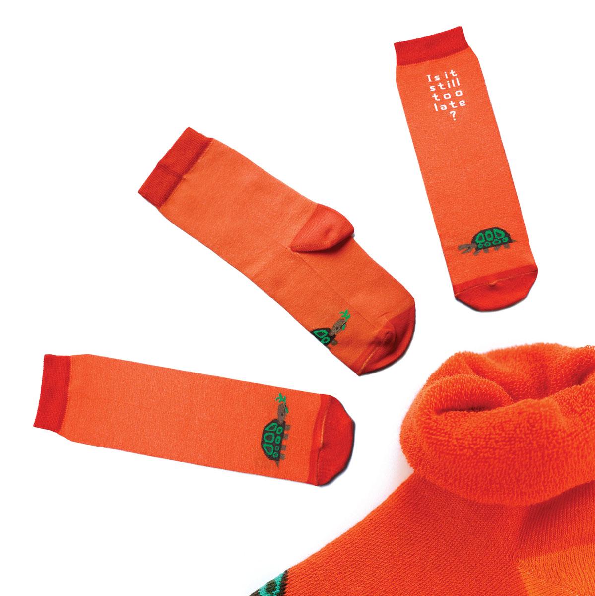 Носки мужские Big Bang Socks, махровые, цвет: оранжевый. ca1533. Размер 40/44ca1533_махровыеТеплые мужские махровые носки Big Bang Socks изготовлены из высококачественного хлопка с добавлением полиамидных и эластановых волокон, которые обеспечивают великолепную посадку. Носки отличаются ярким стильным дизайном, они оформлены изображением черепахи и надписью: Is it still to late?. Удобная широкая резинка идеально облегает ногу и не пережимает сосуды, усиленные пятка и мысок повышают износоустойчивость носка, а удлиненный паголенок придает более эстетичный вид. Дизайнерские носки Big Bang Socks - яркая деталь в вашем образе и оригинальный подарок для друзей и близких.