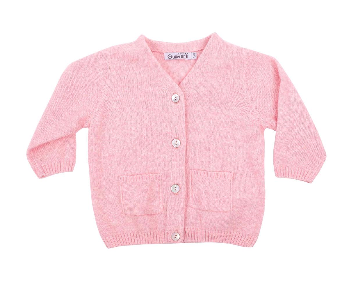 Кофта для девочки Gulliver Baby, цвет: розовый. 216GBGNC3501. Размер 3/6мес216GBGNC3501Вязаная кофта для девочки Gulliver Baby прекрасно дополнит ползунки, футболку, боди, придав комплекту уют и комфорт. Благородный цвет, накладные карманы, застежка на пуговицы и деликатная фирменная нашивка на спинке делают изделие полноценным и завершенным.