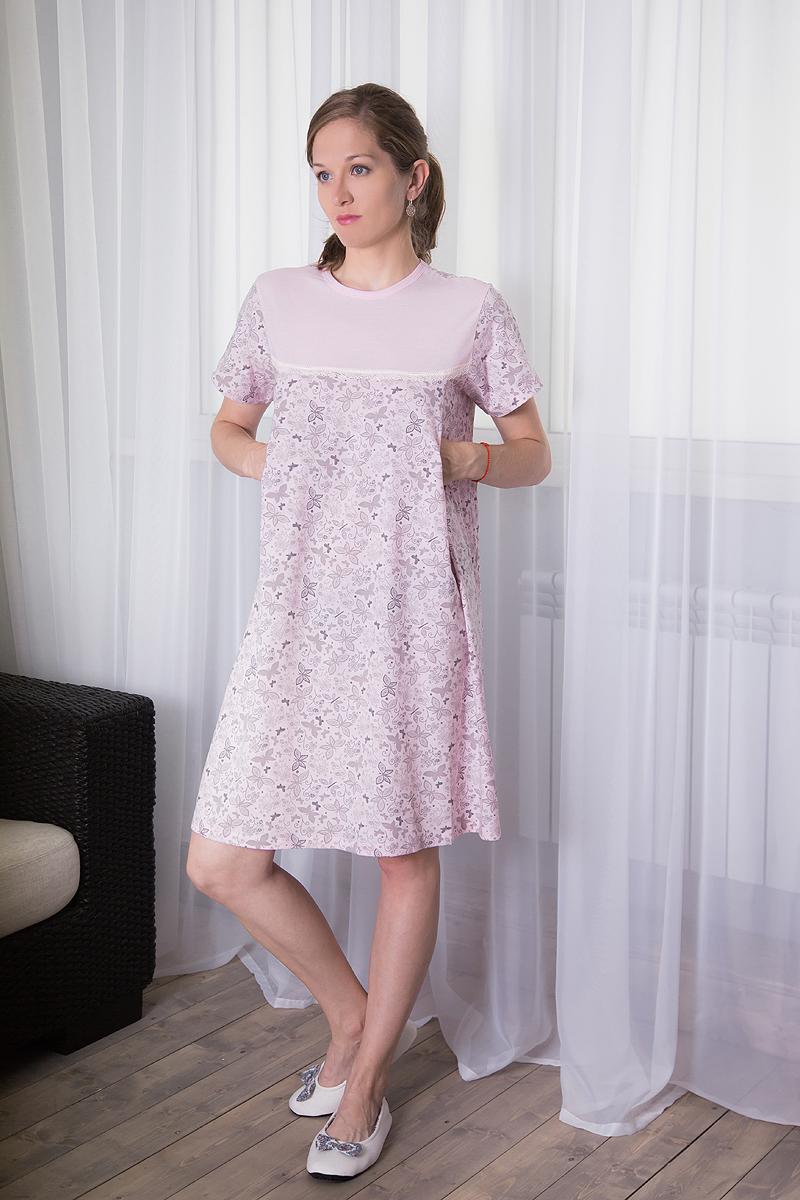 Платье домашнее для кормящих Violett, цвет: светло-розовый. 7117111310. Размер L (48)7117111310Комфортное домашнее платье для кормящих мам Violett с короткими рукавами изготовлено из натурального хлопка. Платье с специальными отверстиями для кормления. Оформлено изделие принтом в виде бабочек.