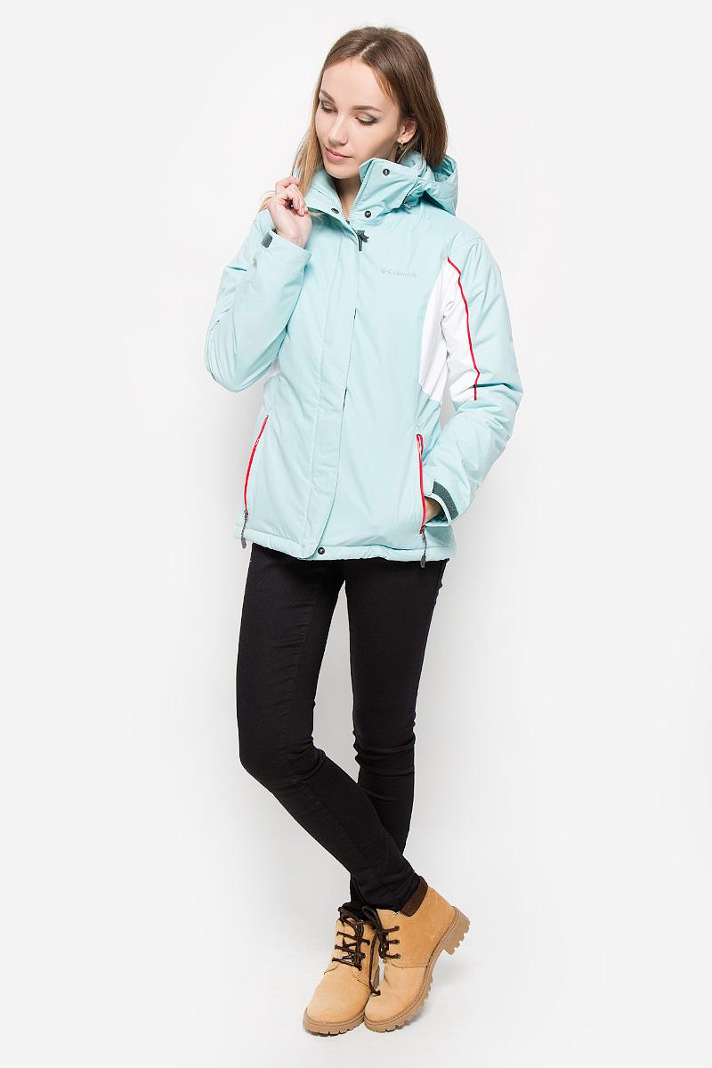 Куртка сноубордическая женская Columbia Powderhouse, цвет: мятный. 1694851-325. Размер S (44)1694851-325Удобная сноубордическая женская куртка Columbia Powderhouse согреет вас в прохладную погоду и позволит выделиться из толпы. Модель с длинными рукавами-реглан, воротником-стойкой и съемным капюшоном на застежке-молнии выполнена из водонепроницаемой мембранной ткани. Технология Omni-Heat защитит вас от холода, отражая тепло, которое вырабатывает ваше тело, но при этом пропуская влагу и излишки тепла. Куртка застегивается на застежку-молнию спереди и имеет ветрозащитный клапан на липучках. Объем капюшона регулируется при помощи шнурка-кулиски. Изделие дополнено двумя втачными карманами на молниях спереди, внутренним карманом-сеткой и втачным карманом на застежке-молнии. Манжеты рукавов куртки дополнены хлястиками на липучках. Низ куртки дополнен шнурком-кулиской со стопперами. Куртка дополнена внутренней вставкой на кнопках по низу, которая защитит вас от попадания ветра и снега. Эта модная и в то же время комфортная куртка - отличный вариант для прогулок и зимних видов спорта, она не позволит вам замерзнуть даже в самые сильные морозы.